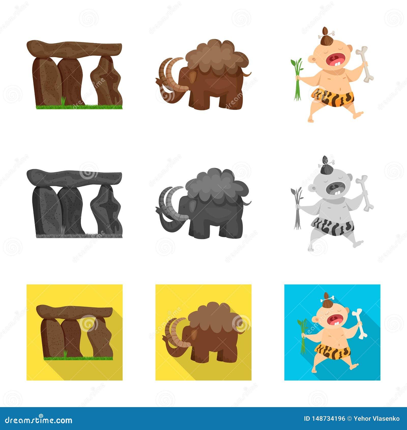 Odosobniony przedmiot ewolucji i prehistorii ikona Kolekcja ewolucji i rozwoju akcyjna wektorowa ilustracja