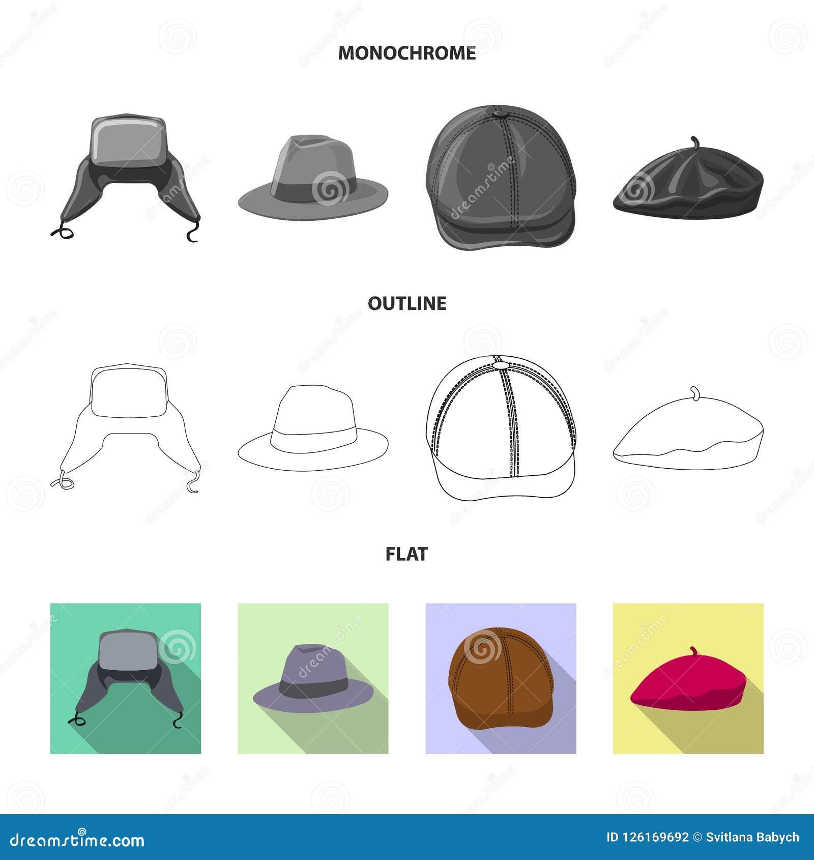 Odosobniony przedmiot headwear i nakrętki znak Kolekcja headwear i akcesorium akcyjna wektorowa ilustracja