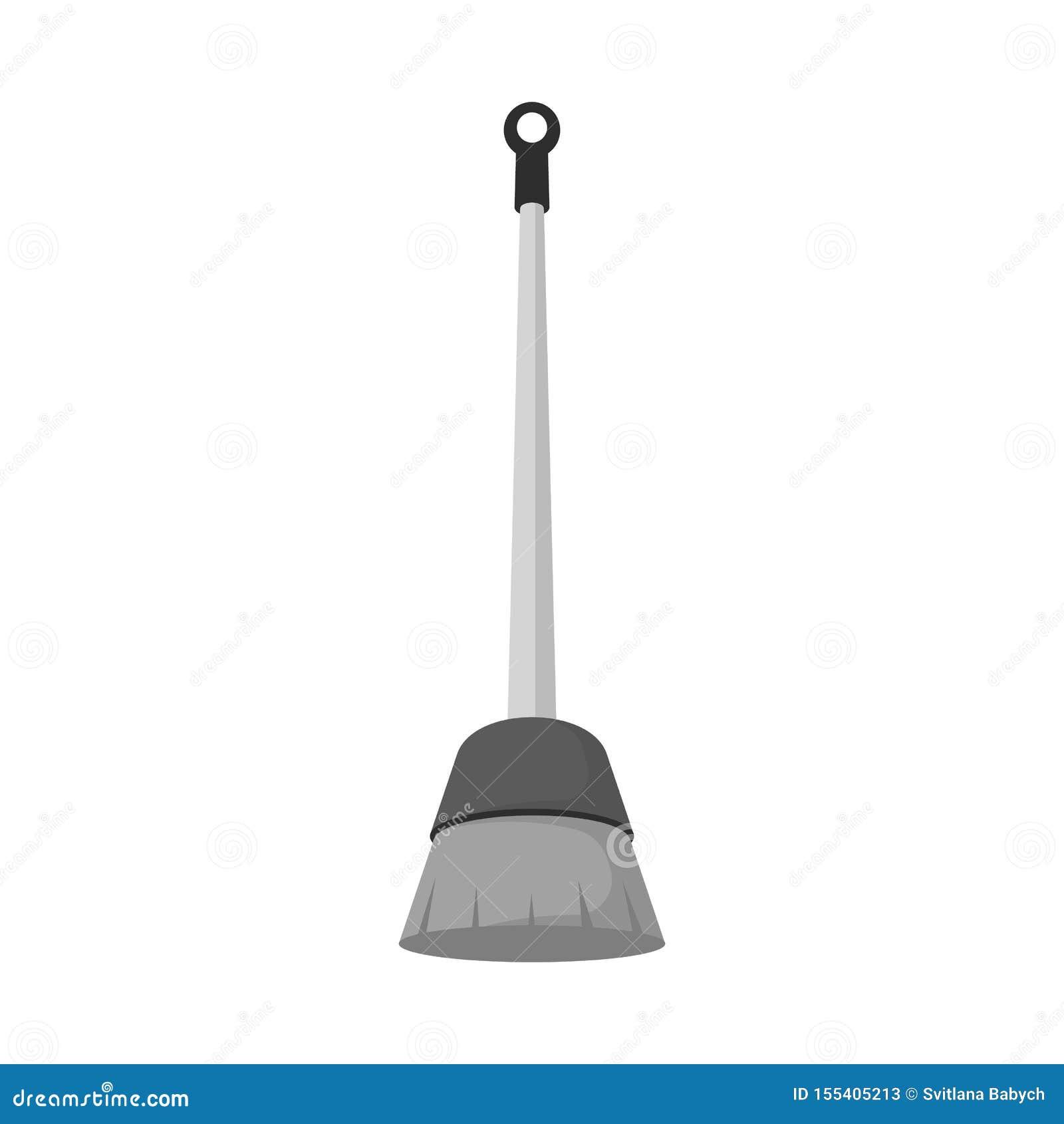 Odosobniony przedmiot miotła i czyści znak Set miotła i housekeeping wektorowa ikona dla zapasu