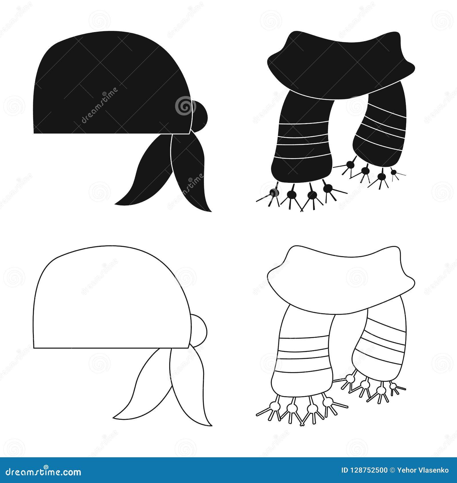 Odosobniony przedmiot szalika i chusty ikona Set szalika i akcesorium akcyjna wektorowa ilustracja