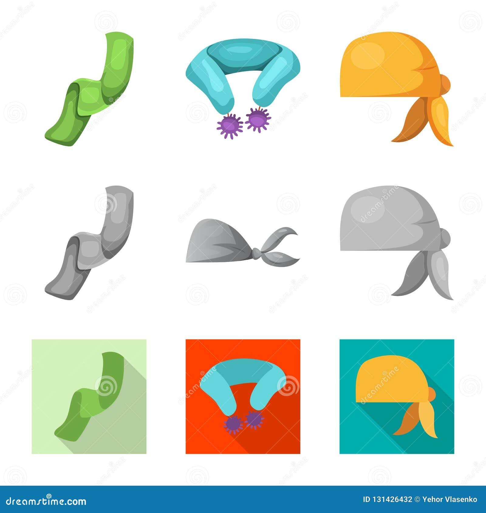 Odosobniony przedmiot szalika i chusty logo Set szalika i akcesorium akcyjna wektorowa ilustracja