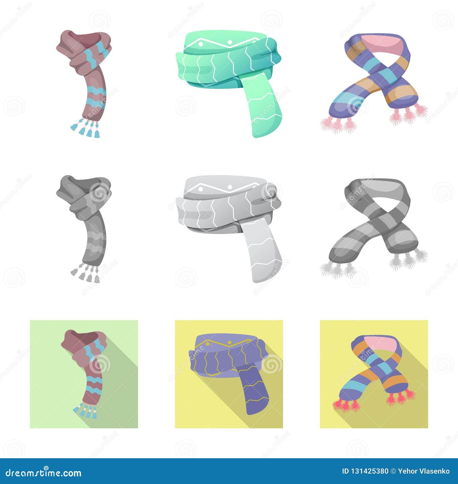 Odosobniony przedmiot szalika i chusty znak Kolekcja szalika i akcesorium akcyjna wektorowa ilustracja