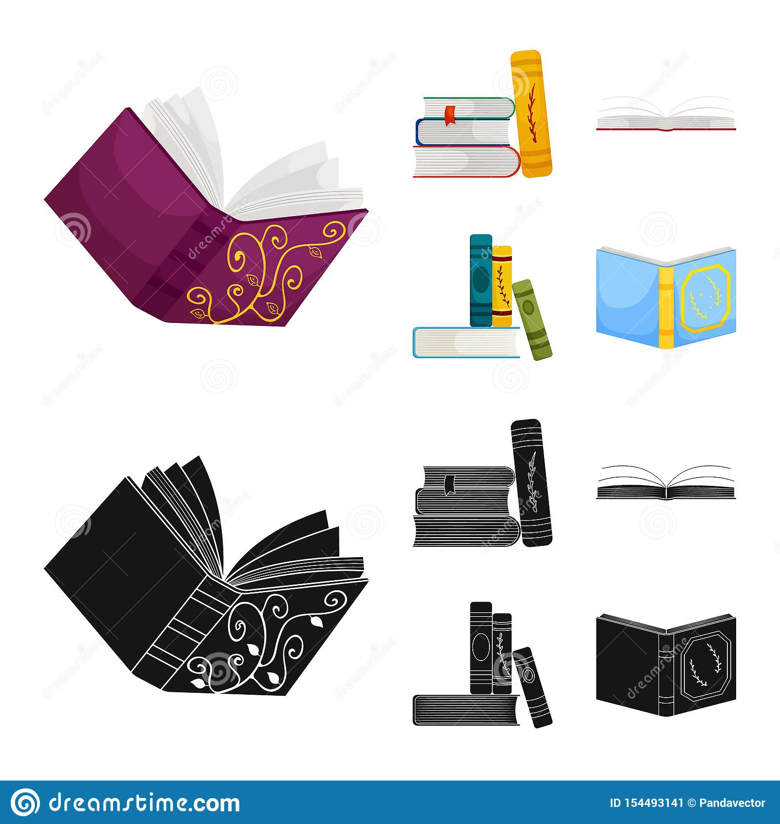 Odosobniony przedmiot szkolenia i pokrywy ikona Set szkolenie i bookstore wektorowa ikona dla zapasu