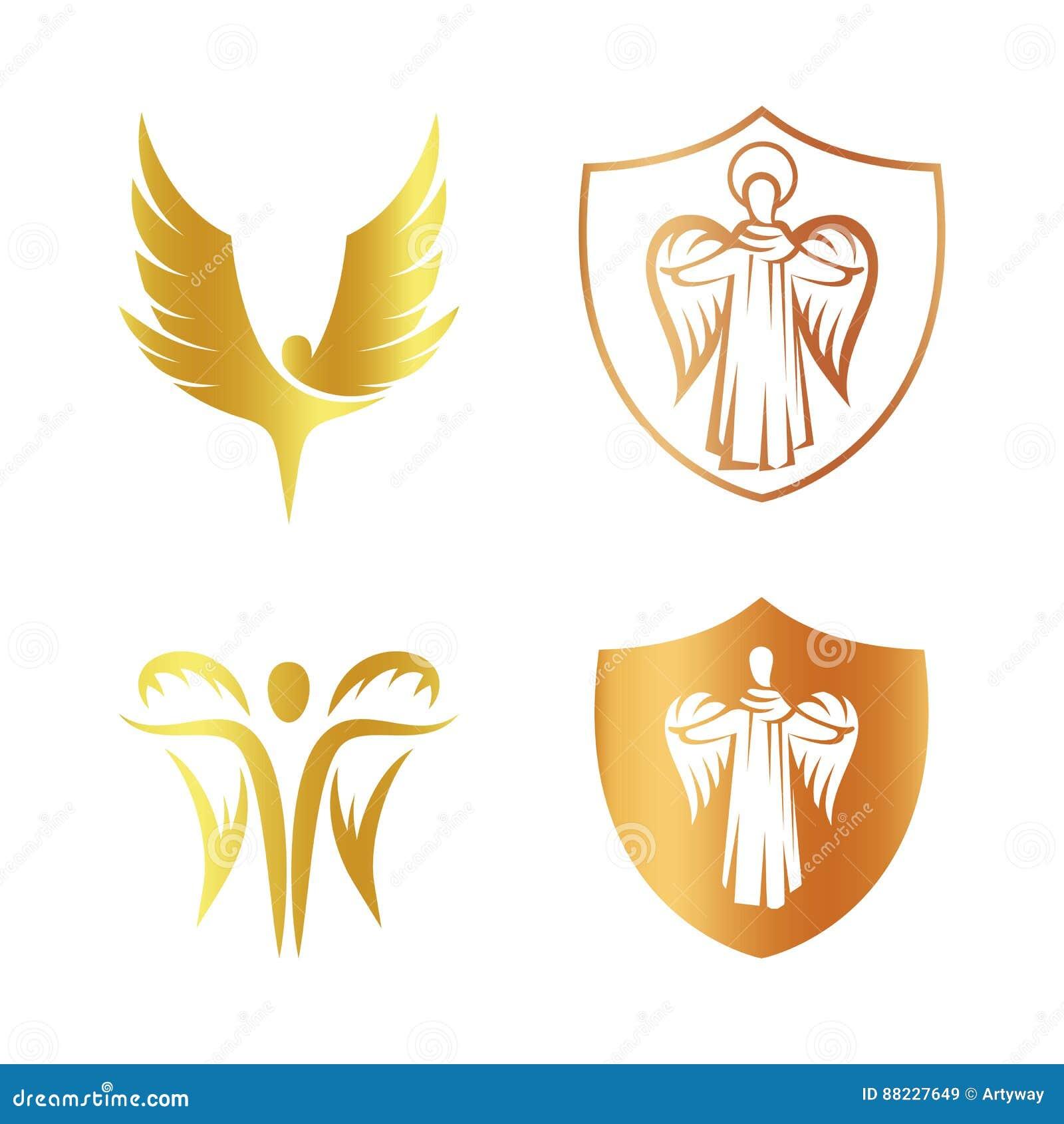 Odosobniony złoty koloru anioła sylwetki loga set, osłona z religijną elementu logotypu kolekcją, żakiet z ręka