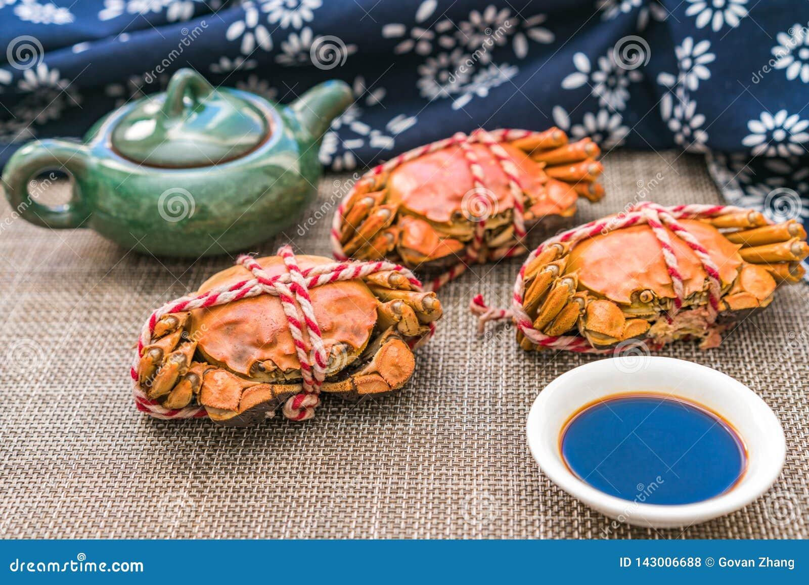 Odparowany krab, delikatność Chongyang festiwal w Chiny