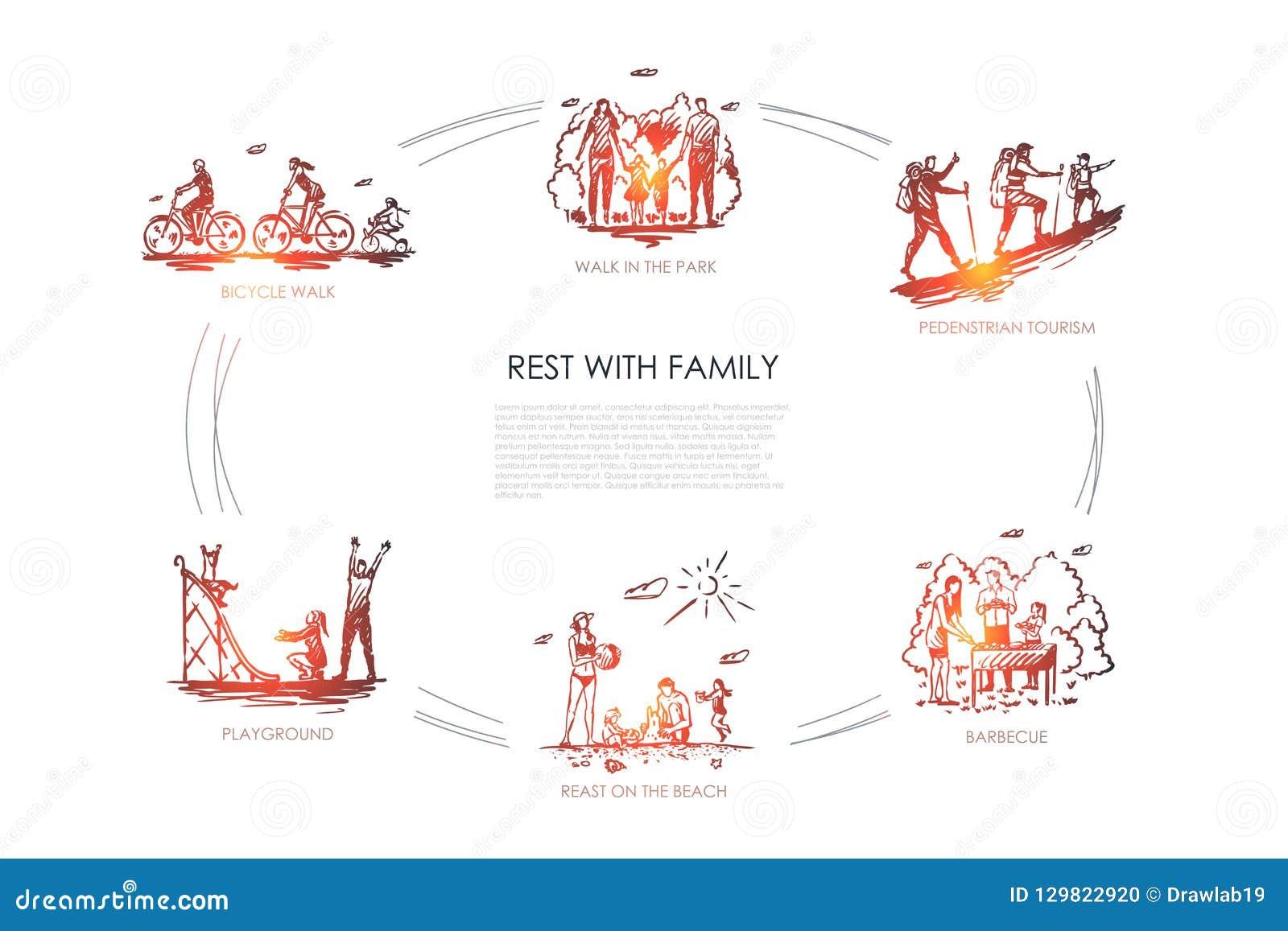 Odpoczynek z rodziną - chodzi w parku, rowerowy spacer, boisko, grill, zwyczajna turystyka, odpoczynek na plażowym wektorowym poj