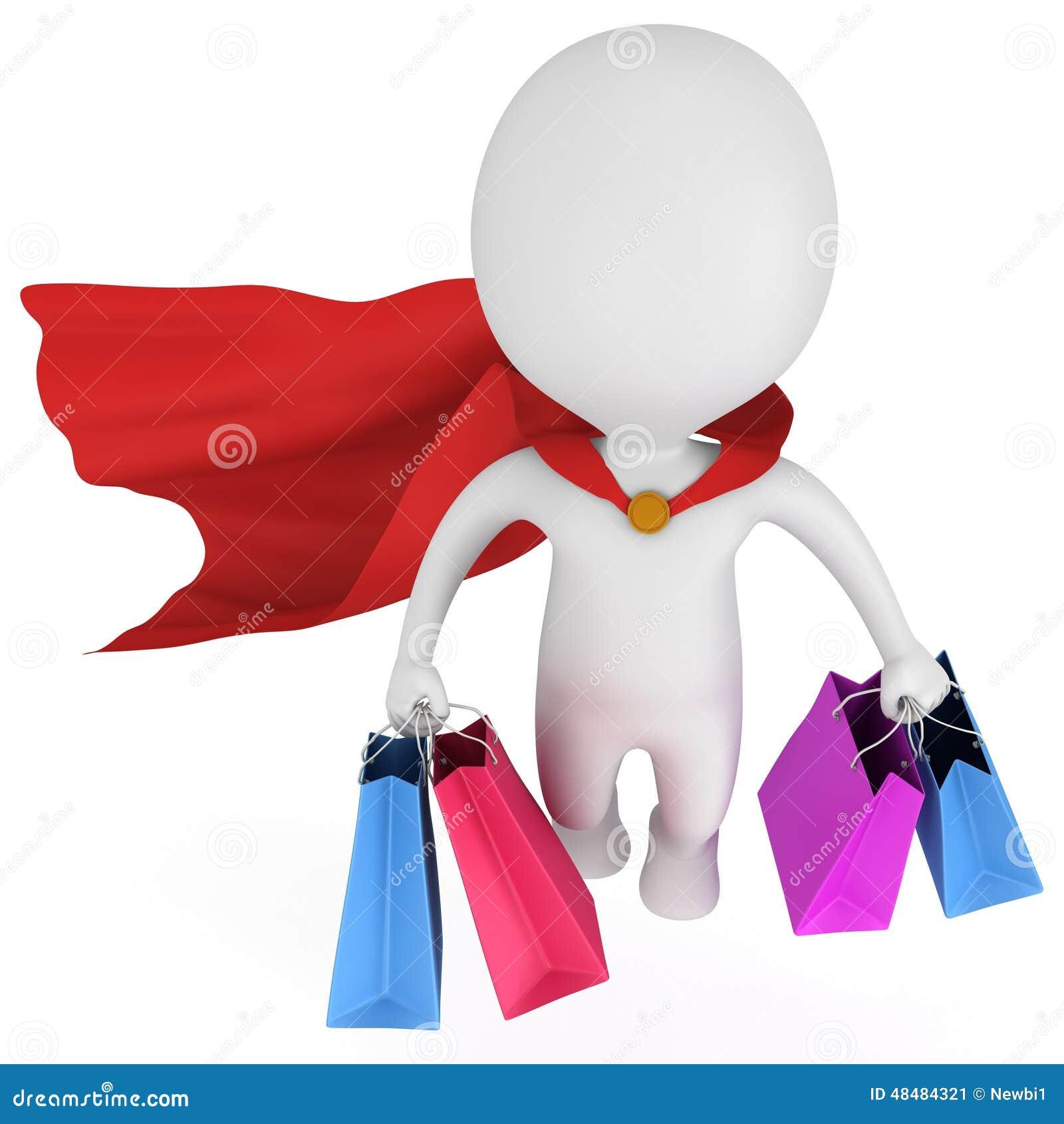 Odważny bohatera kupujący z czerwoną peleryną