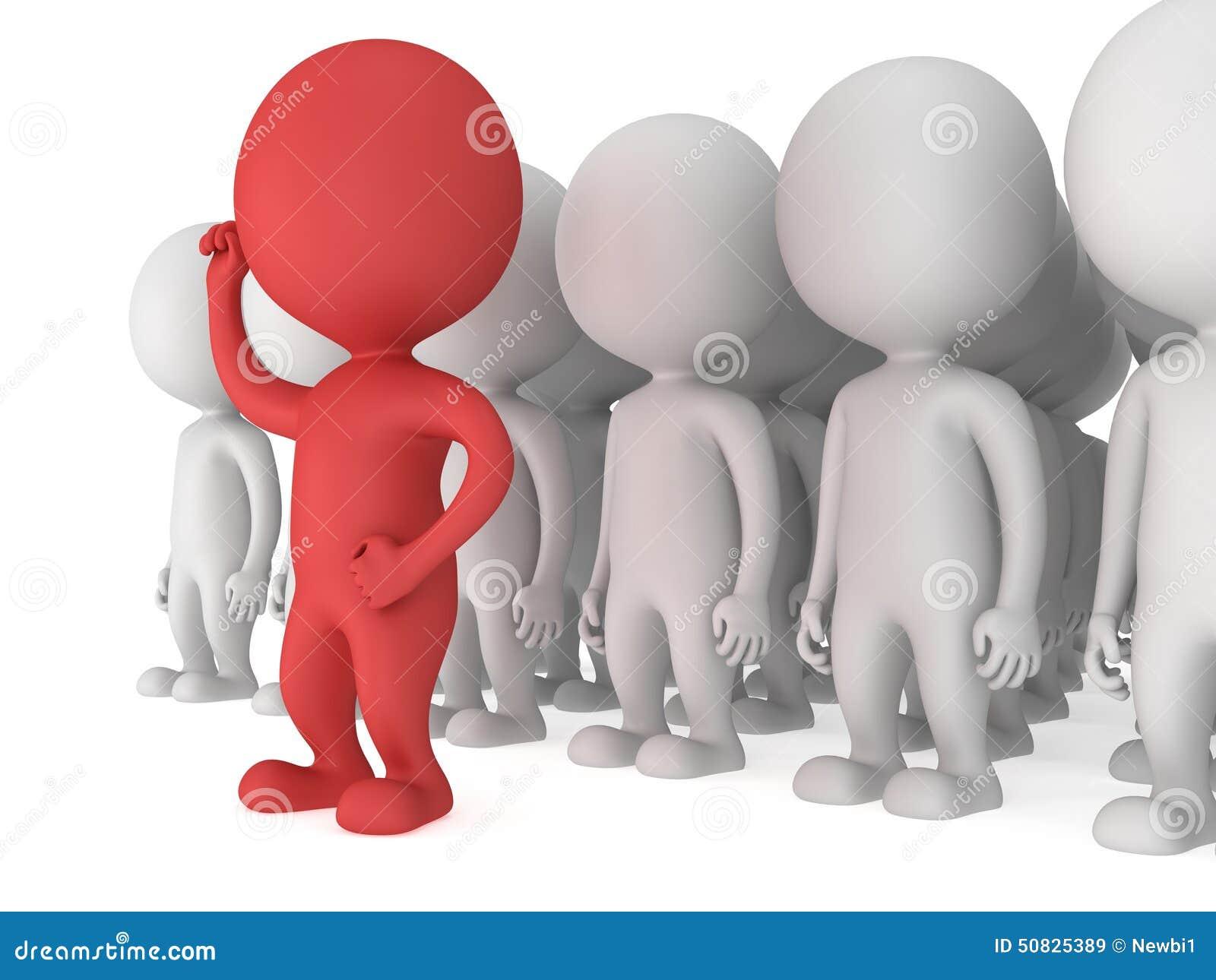 Odważny czerwony lider przed tłumem