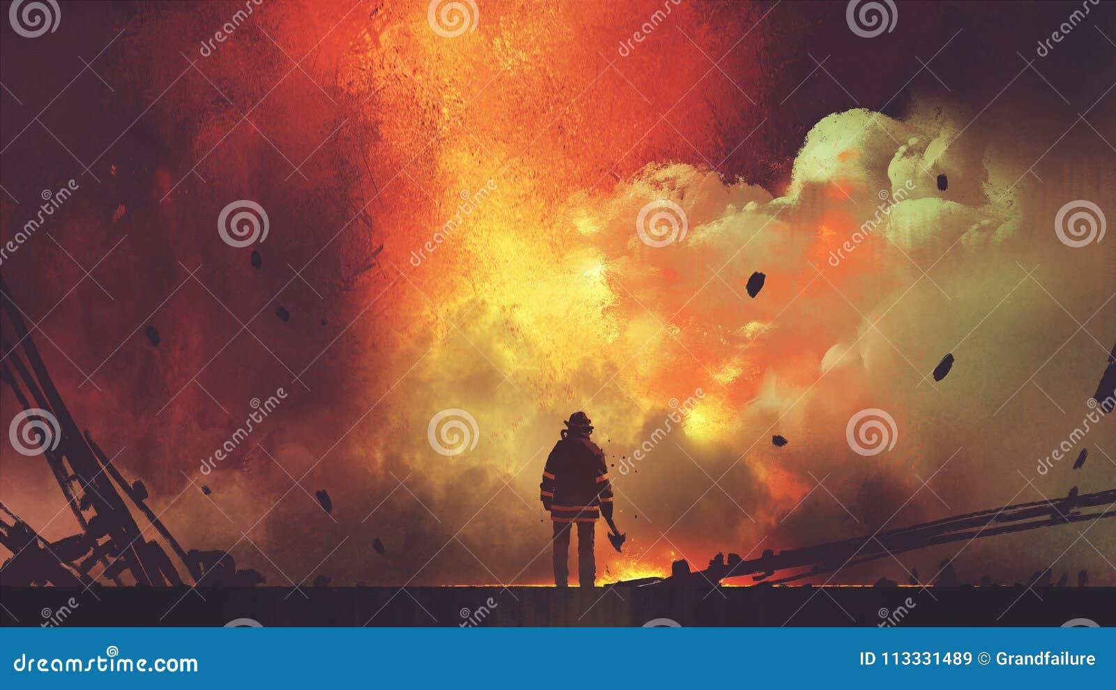 Odważny strażak stawia czoło wybuch
