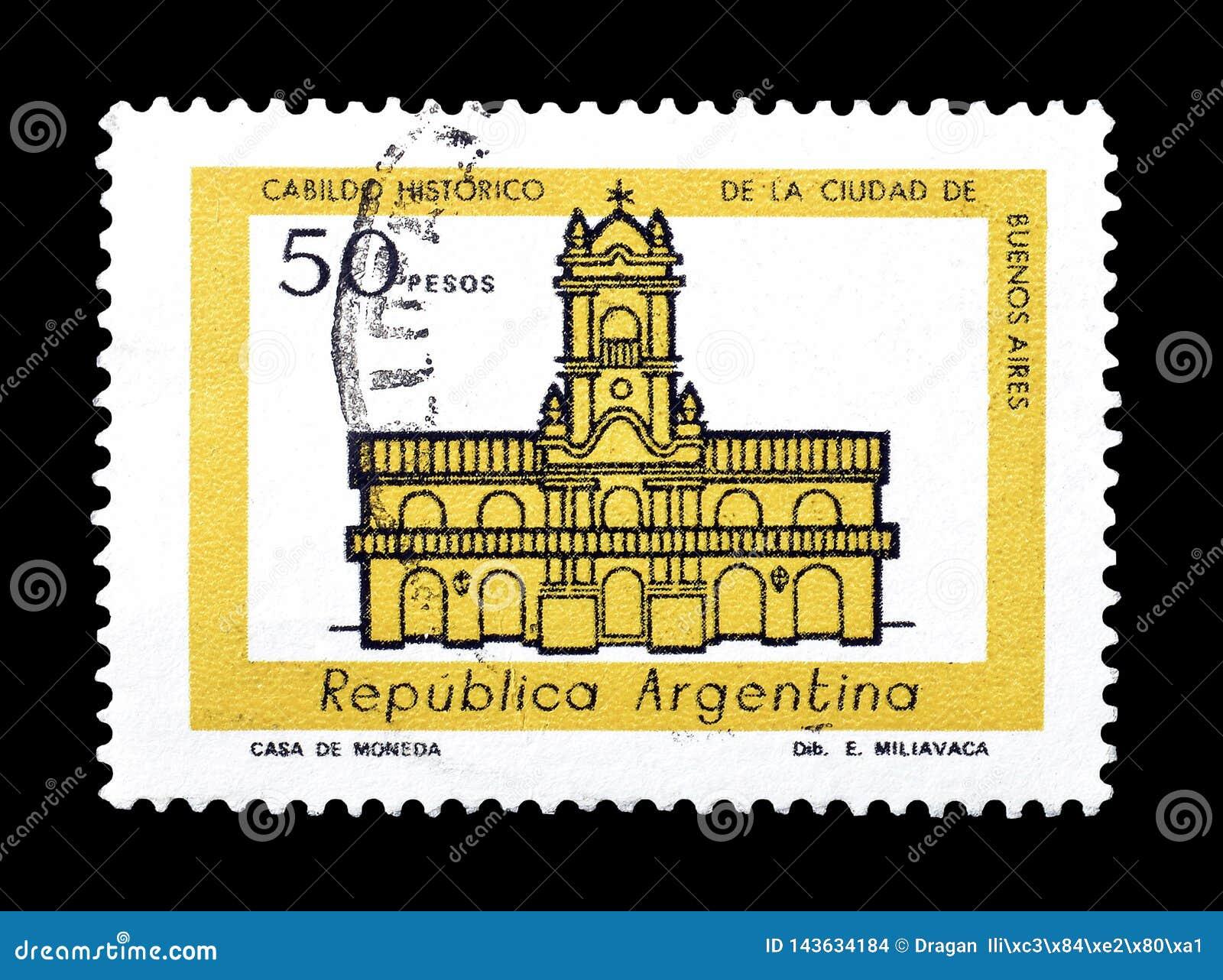 Odwoływający znaczek pocztowy drukujący Argentyna