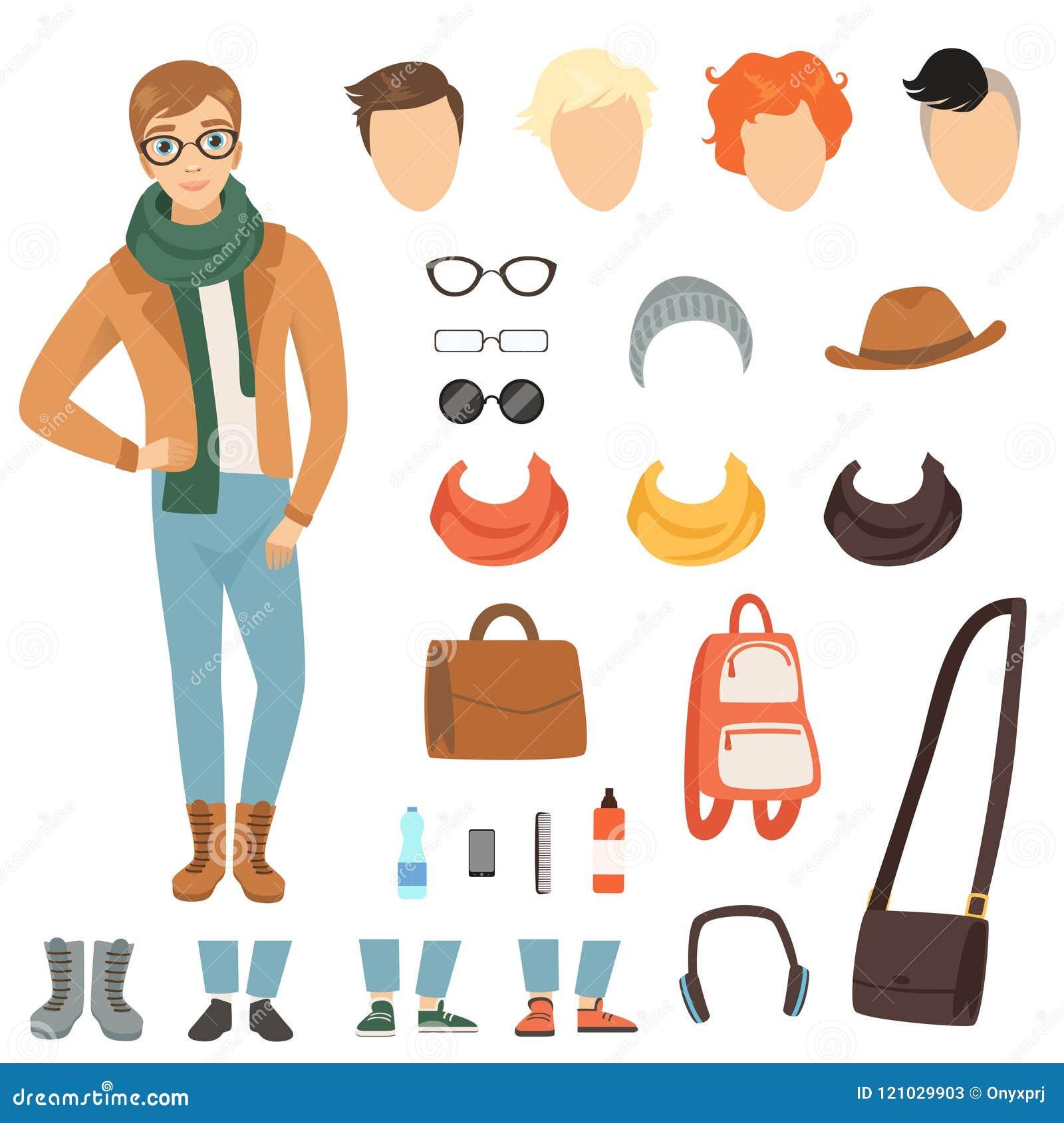Odziewać modny facet Kreskówka męski charakter z różnorodnymi mod akcesoriami i odziewa