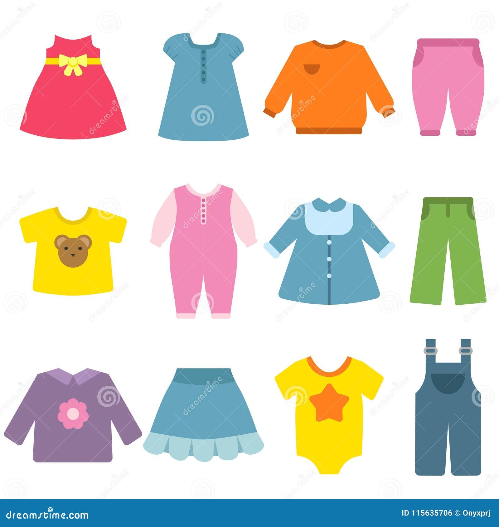 Odziewa dla children Wektorowe płaskie ilustracje