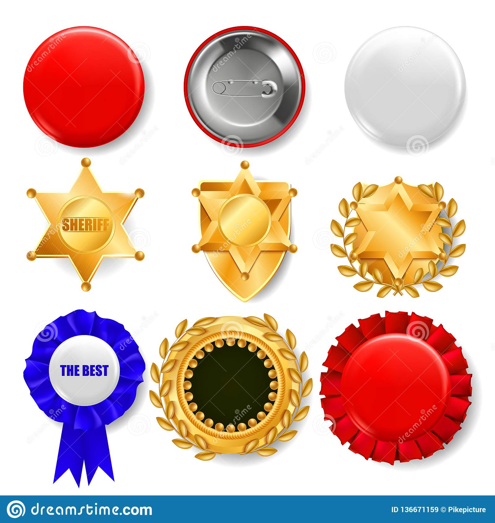 Odznaka ustalony wektor Plastikowy I Złoty Opróżnia guzika Sprzedaż symbol Najlepszy ilość produktu emblemat heksagonalny Szeryf,