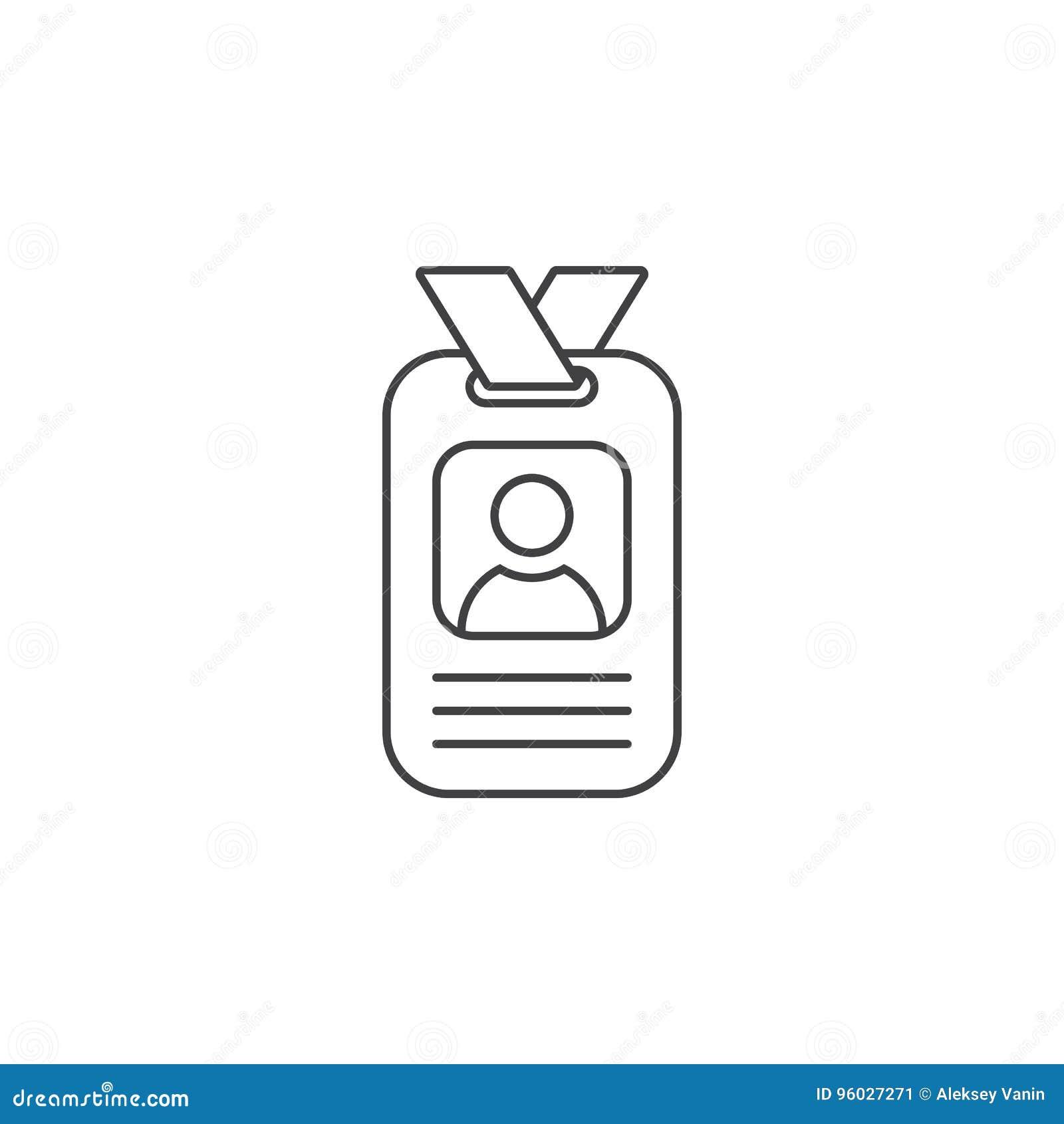 Odznaki cienka kreskowa ikona, karta identyfikacyjna konturu wektorowy logo il
