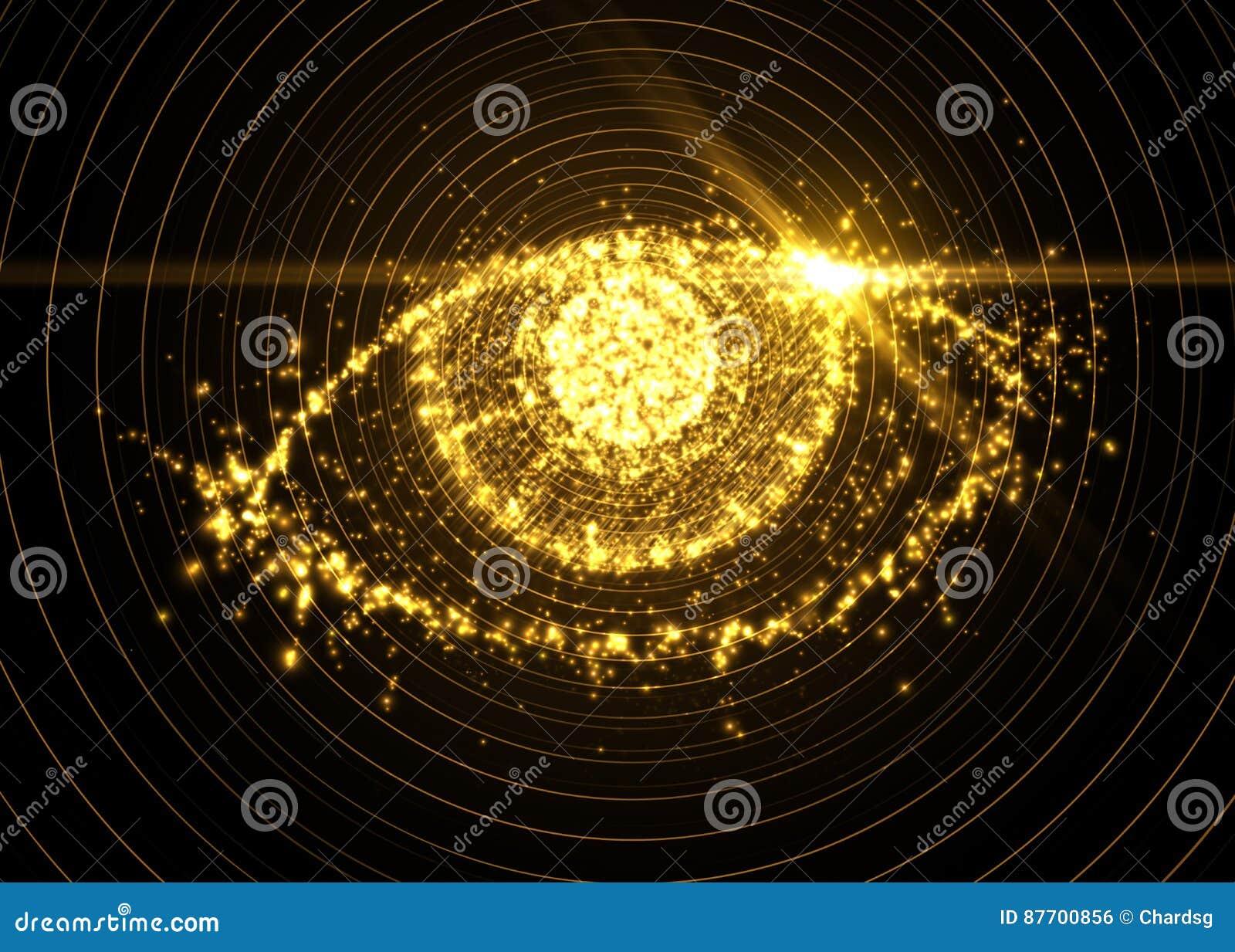 Oeil abstrait des particules légères, avec l effet de fusée Illustration de vecteur