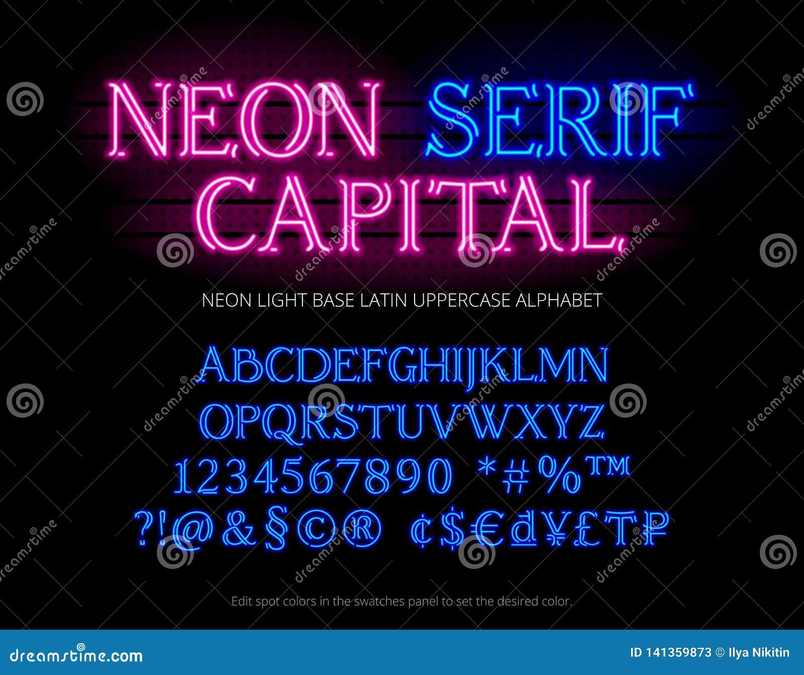 Oeil d un caractère en alphabet de tube au néon Lettres au néon d empattement de lumière de couleur, nombres, symboles spéciaux,