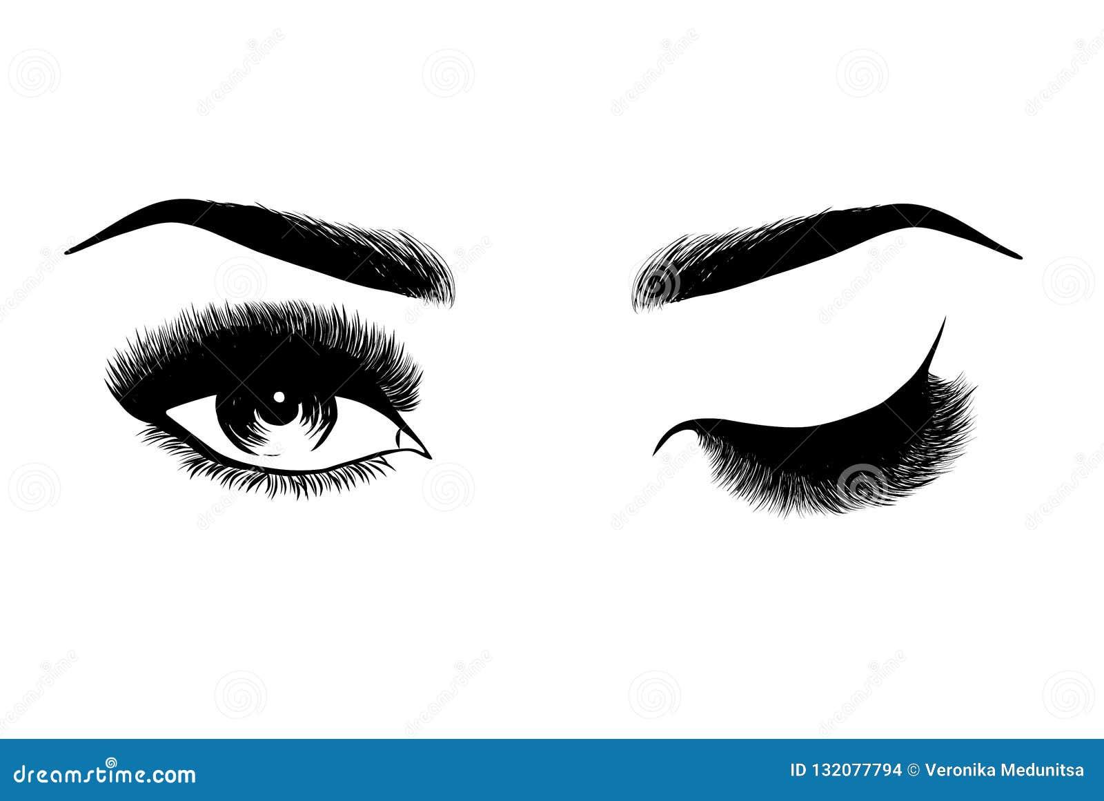 Oeil et fronts élégants de Madame avec de pleines mèches