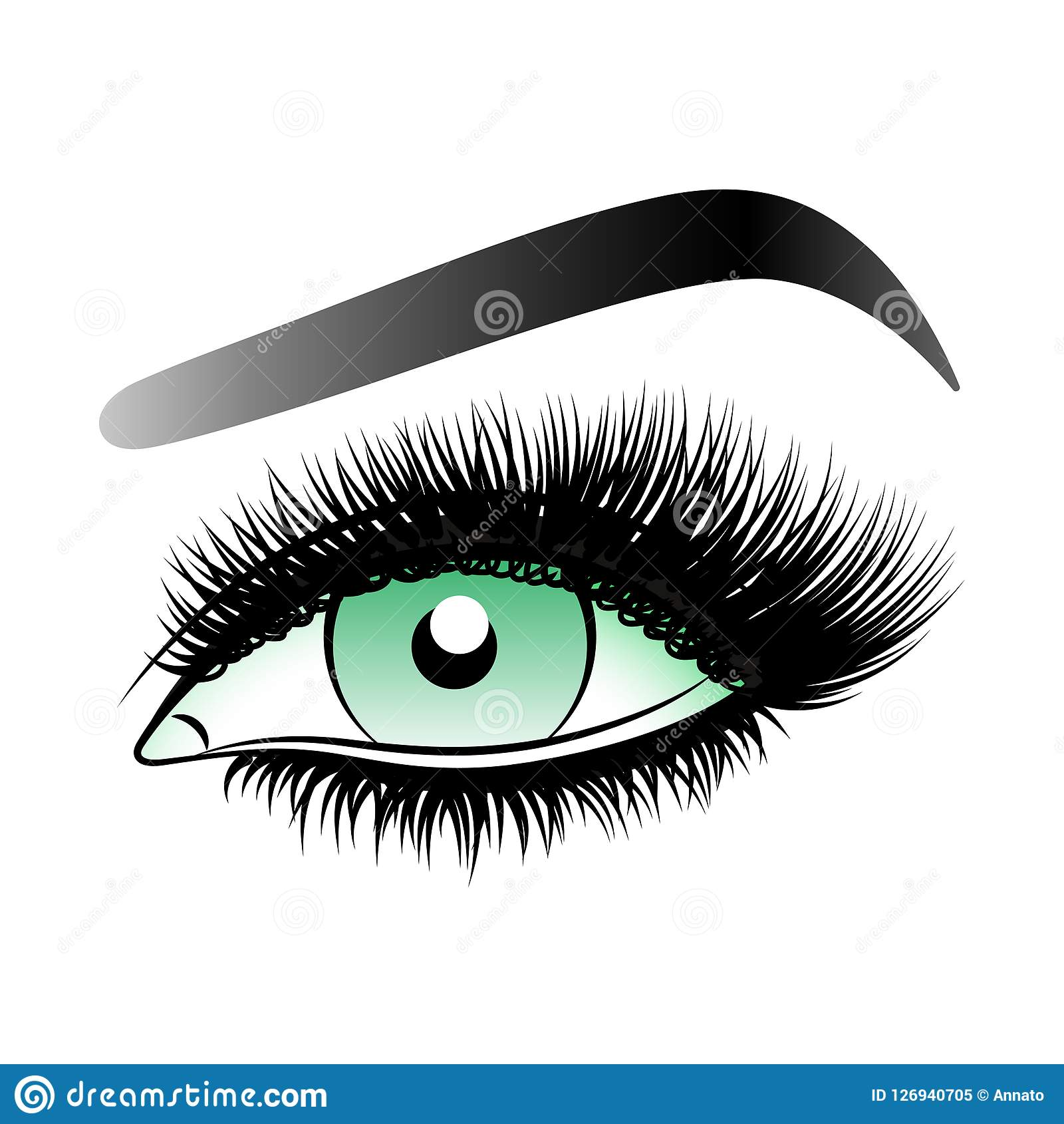 Oeil vert de femme avec de longues mèches fausses avec des sourcils