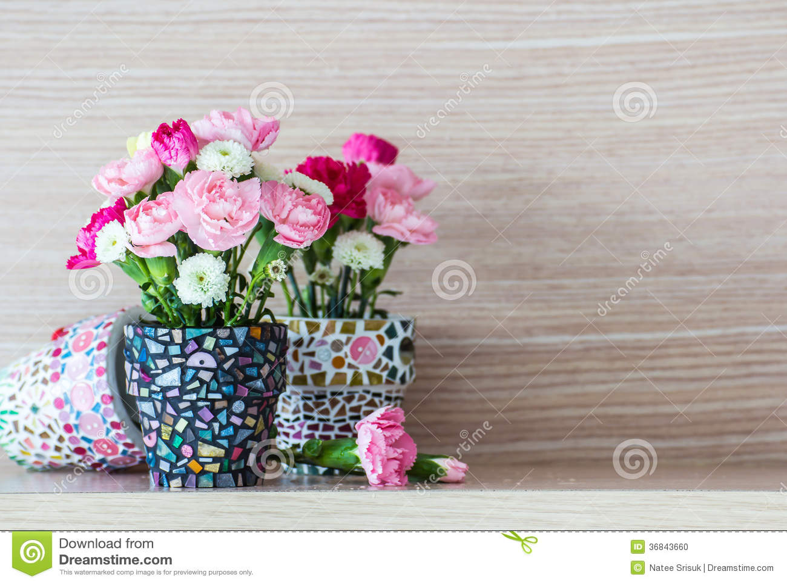 oeillet dans le pot de fleur de mosa que photo stock image 36843660. Black Bedroom Furniture Sets. Home Design Ideas