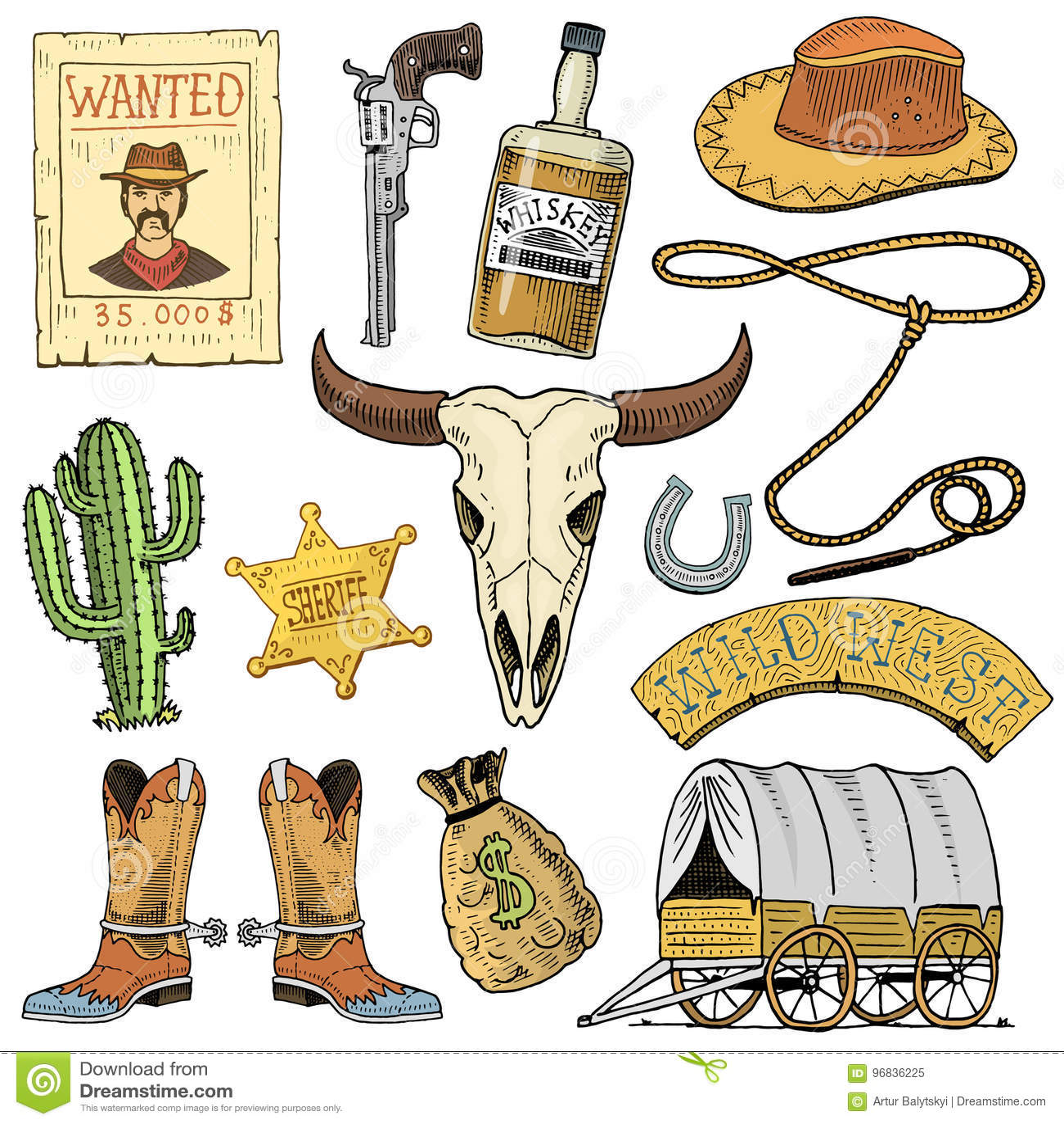 Oeste, mostra do rodeio, vaqueiro ou indianos selvagens com laço chapéu e arma, cacto com estrela do xerife e bisonte, bota com