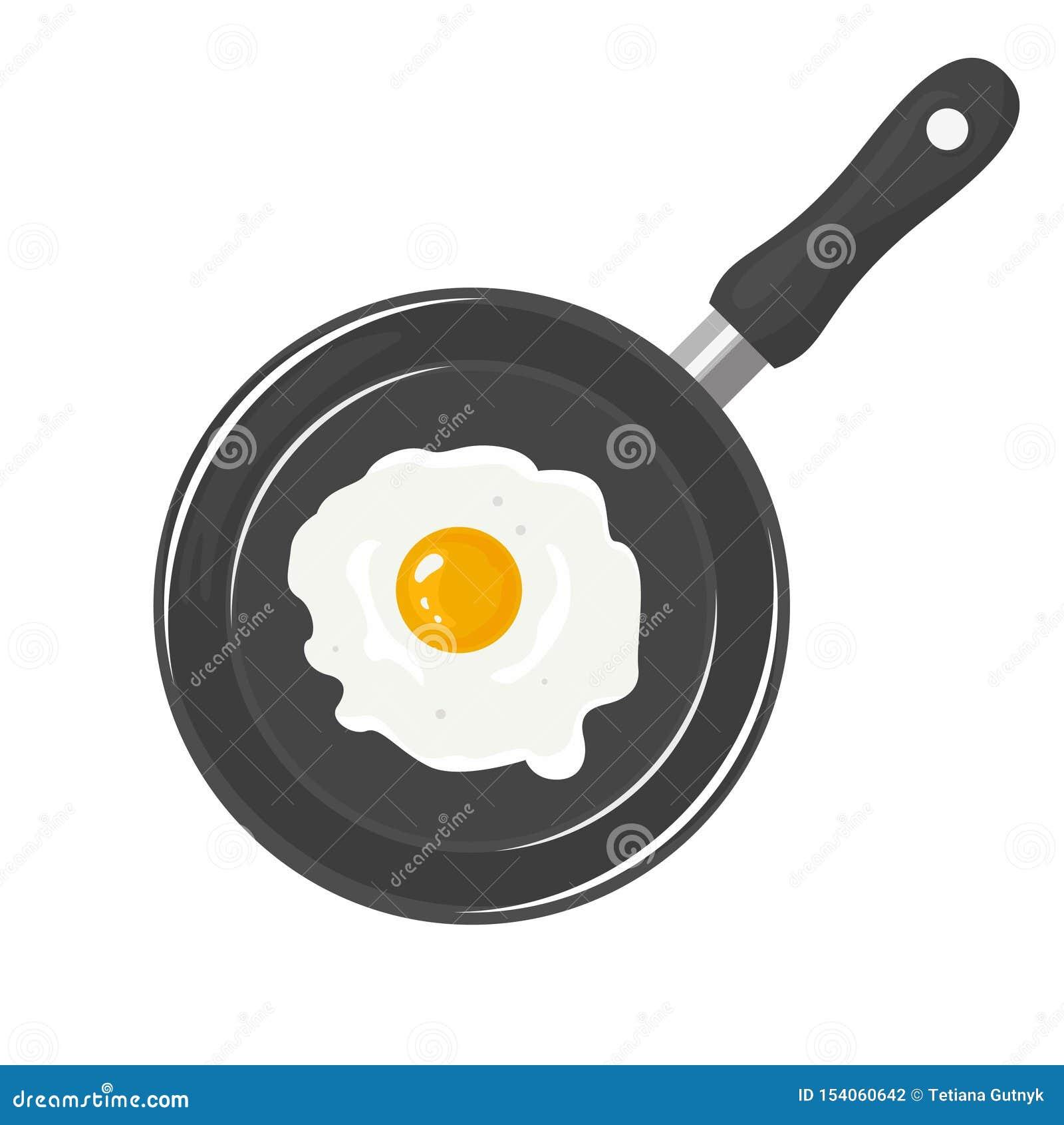 Oeuf au plat dans la casserole d isolement sur le fond blanc