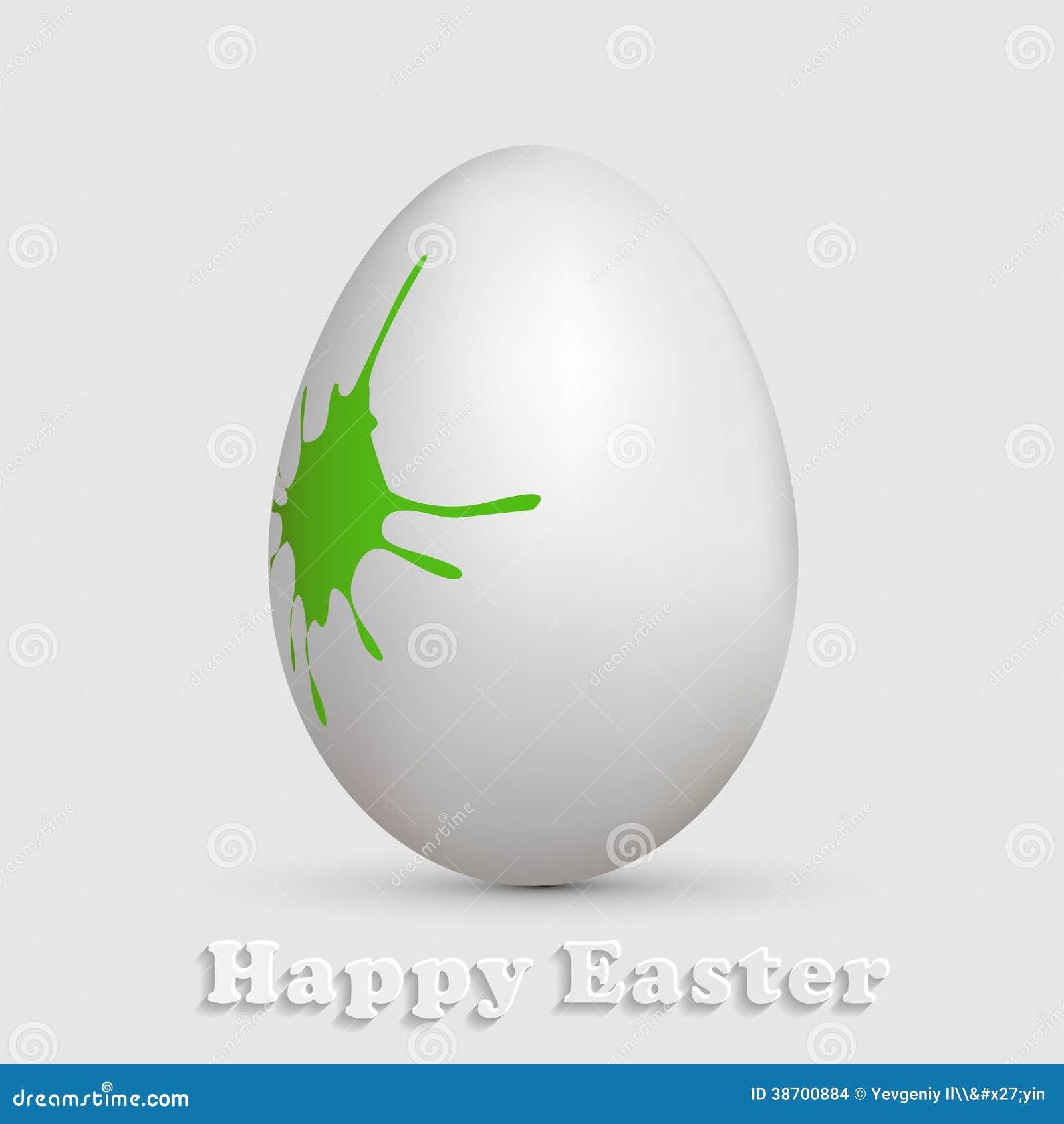 Oeuf de p ques blanc avec la peinture verte images stock image 38700884 - Peinture oeufs de paques ...