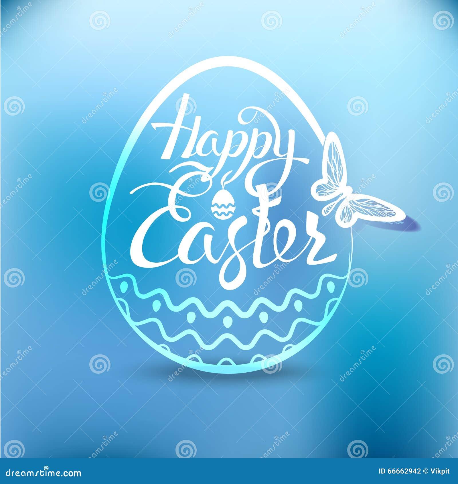 Oeuf de pâques heureux avec le symbole de vacances sur un fond bleu