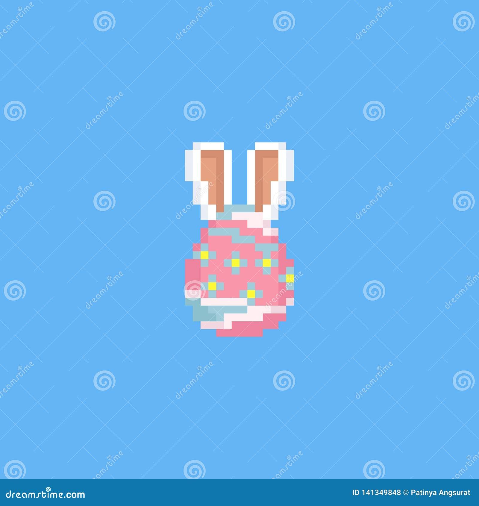 Oeuf De Pâques De Pixel Avec Des Oreilles De Lapin 8bit Jour