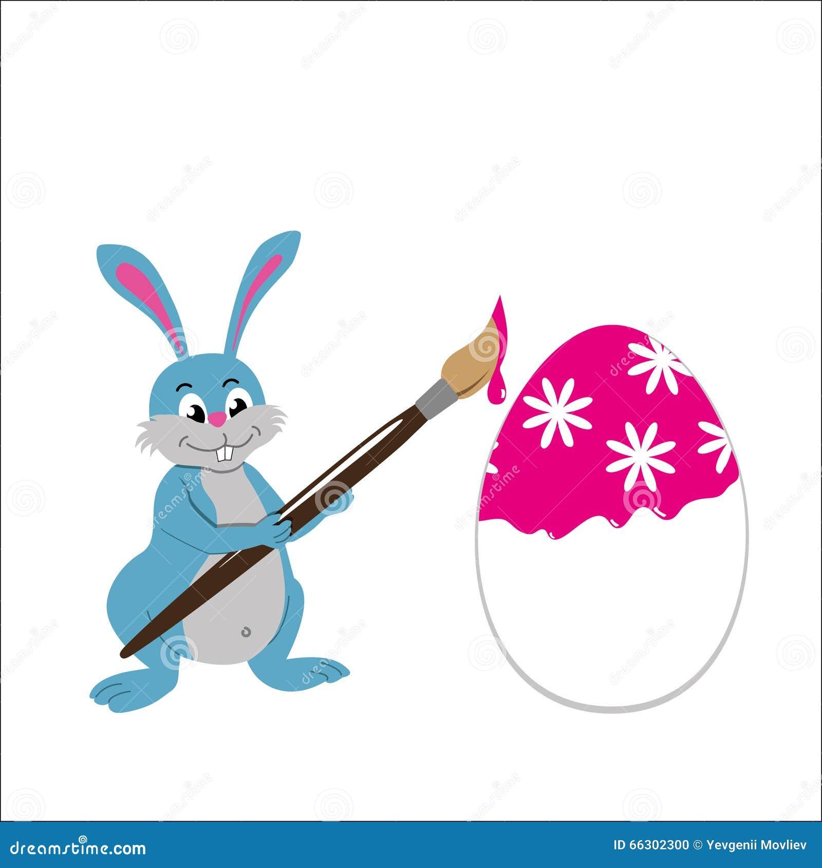 Oeuf de p ques de peinture de lapin de p ques illustration de vecteur image 66302300 - Peinture oeufs de paques ...