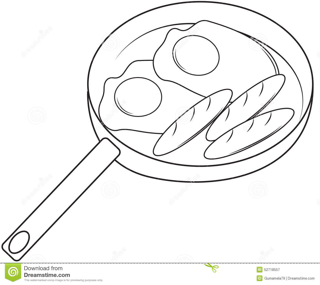 Oeufs Au Plat Et Page De Coloration De Hot Dog Illustration Stock