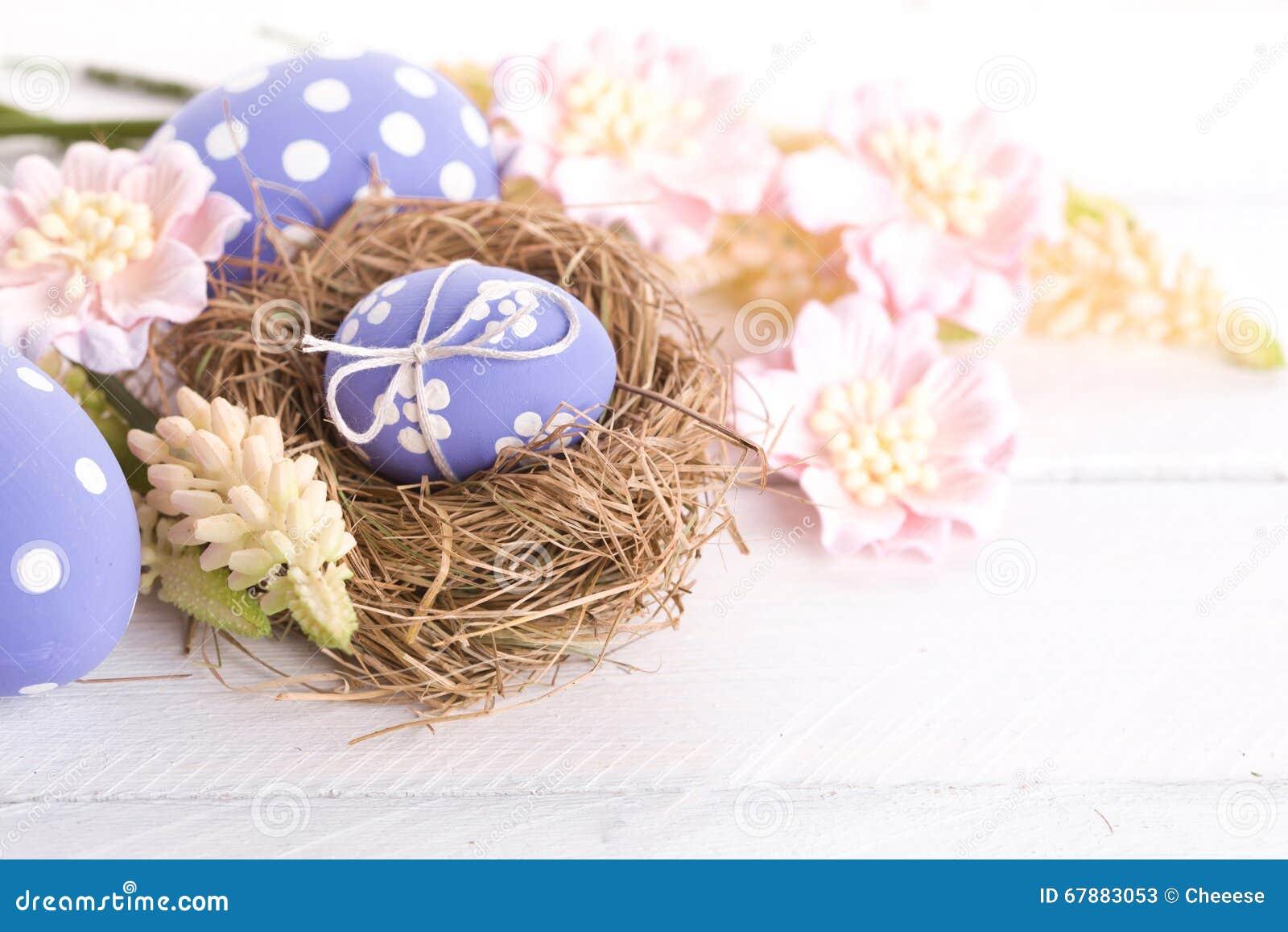 Oeufs de pâques avec le nid