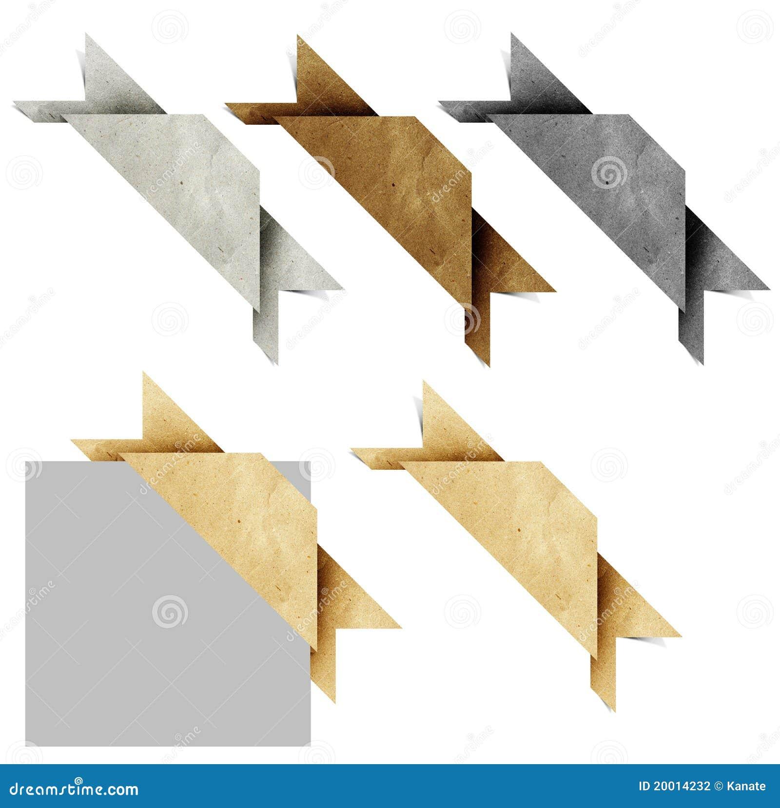 Ofício de papel recicl do origami do encabeçamento Tag de canto