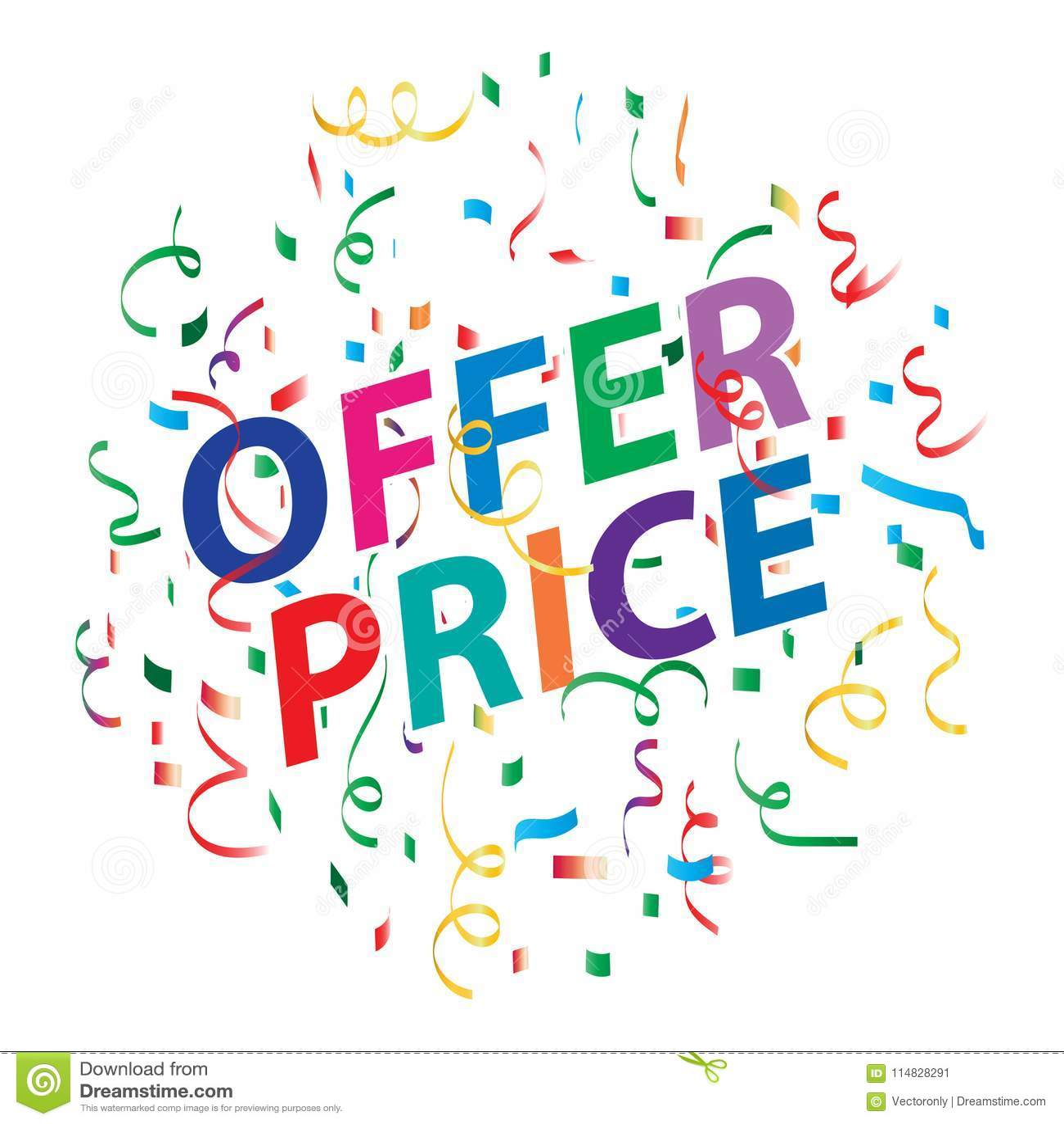 Oferty ceny tło z kolorowymi confetti