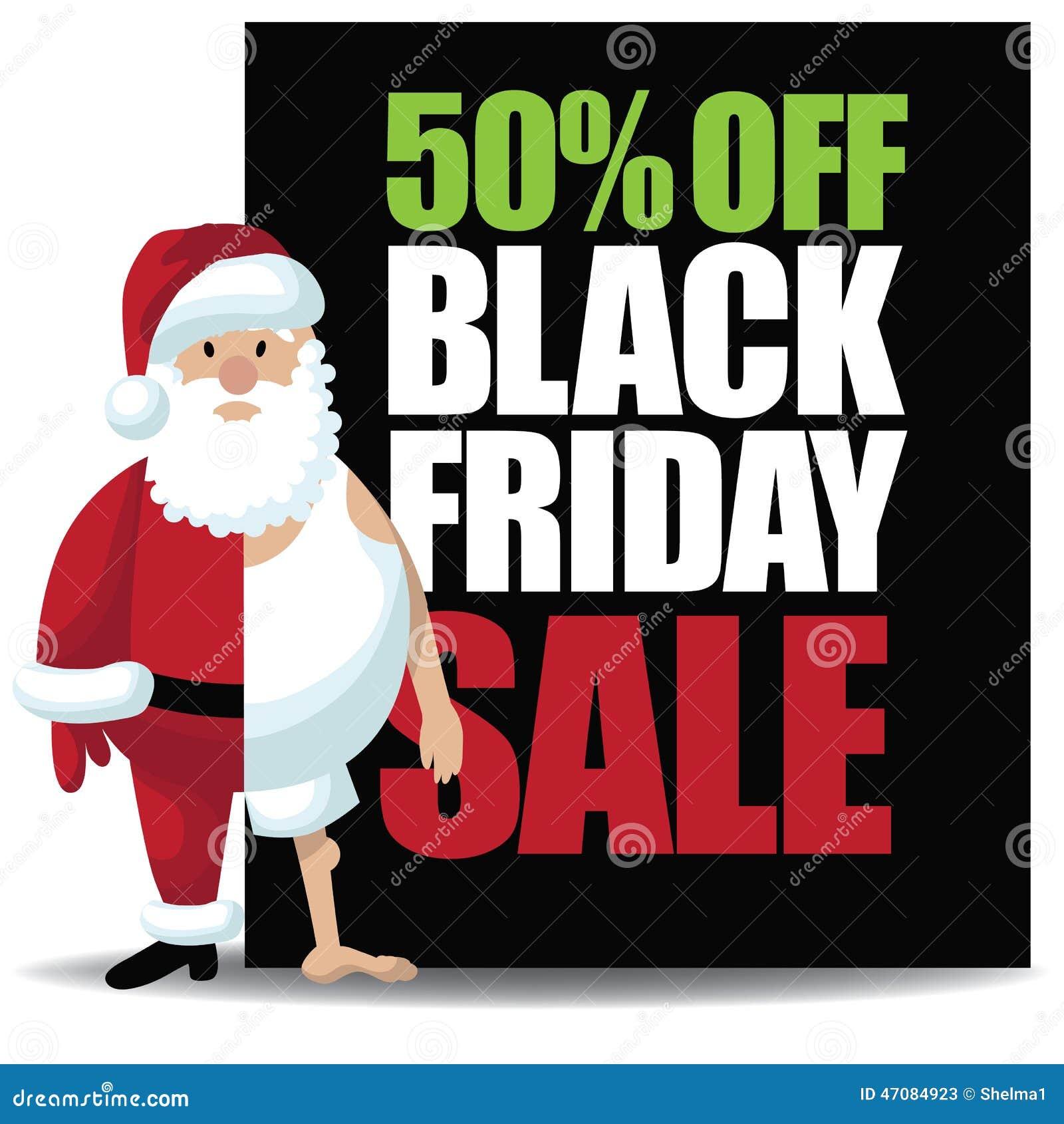 50 Off Black Friday Sale With Half Dressed Santa Stock Vector Illustration Of Card Saint 47084923