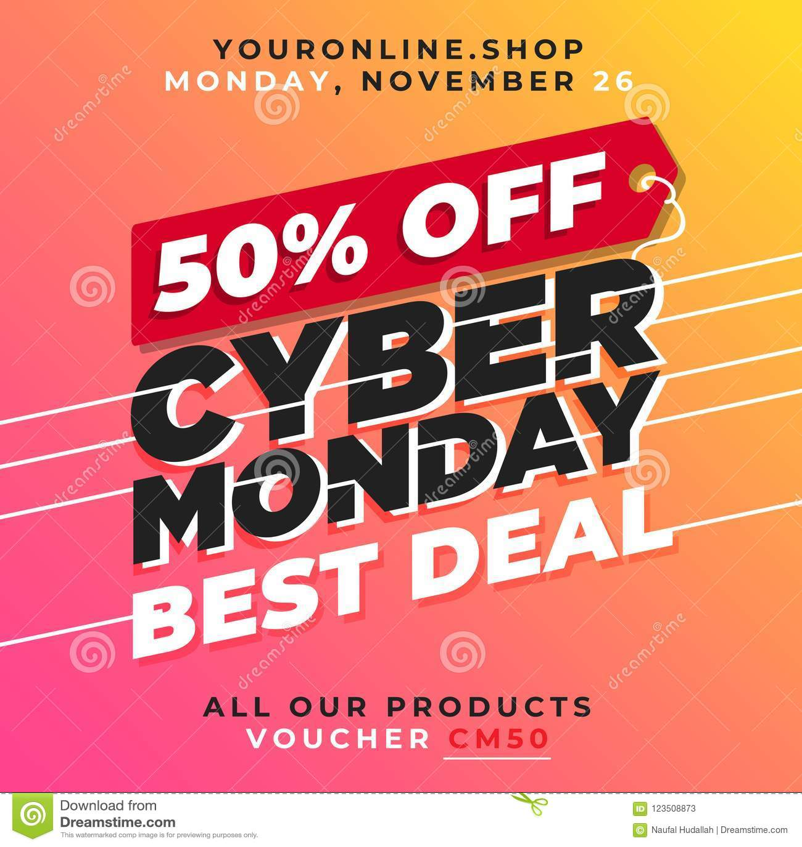 50% Off Cyber Monday Sale Vector. Best Deal Online Shop