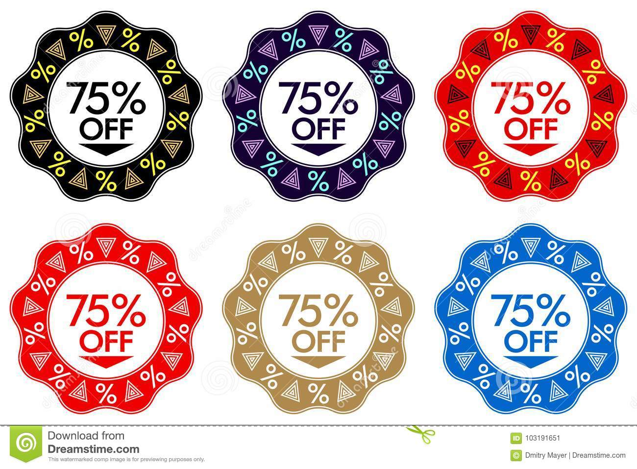 75 Off Discount Sticker. Set of Banner Design with 75 off
