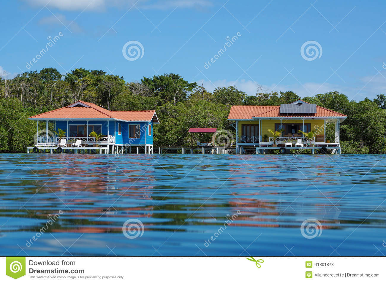 Off grid over water bungalows with solar panels