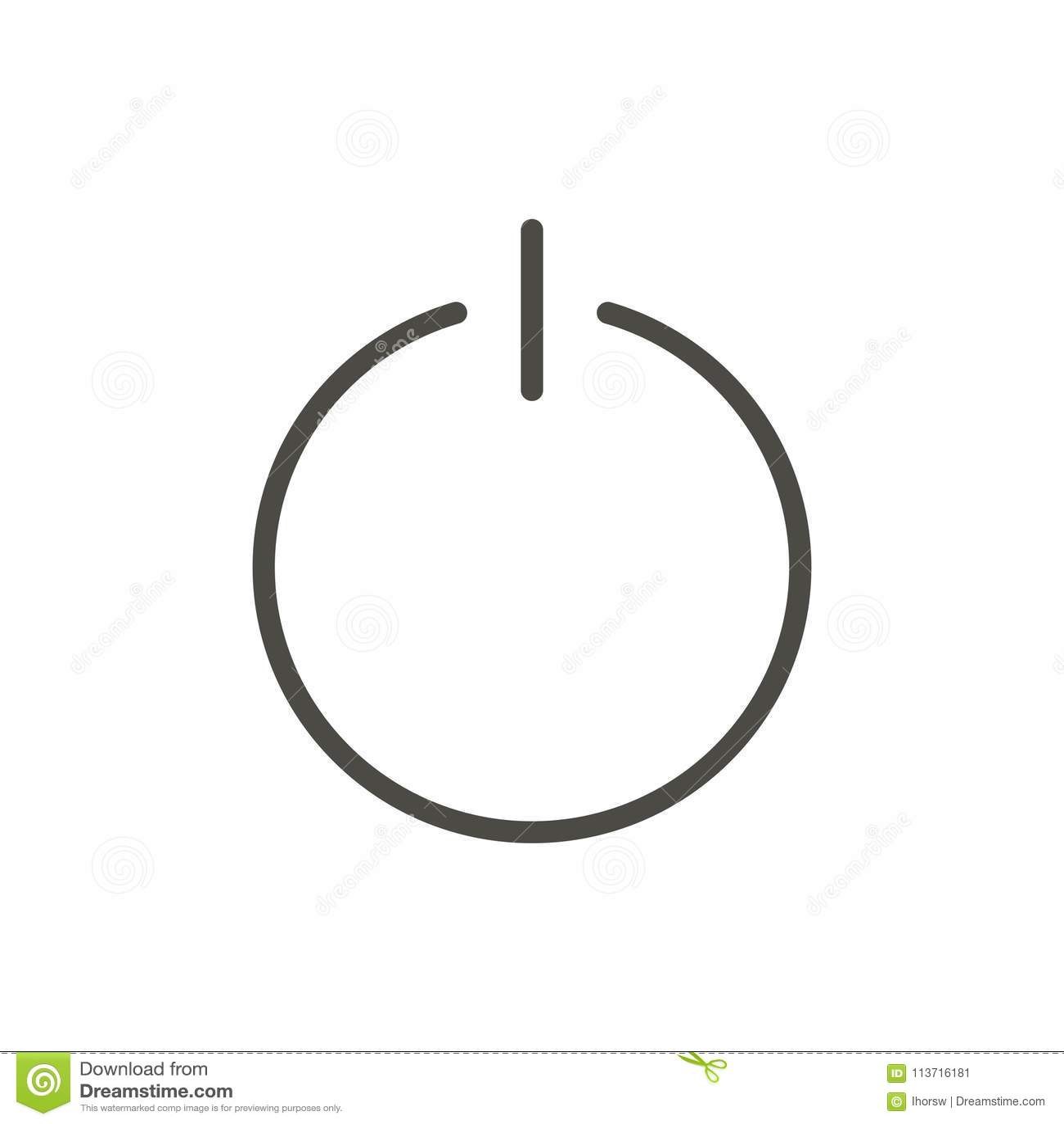 Off Icon Vector Line Turn Power Symbol Stock Vector Illustration