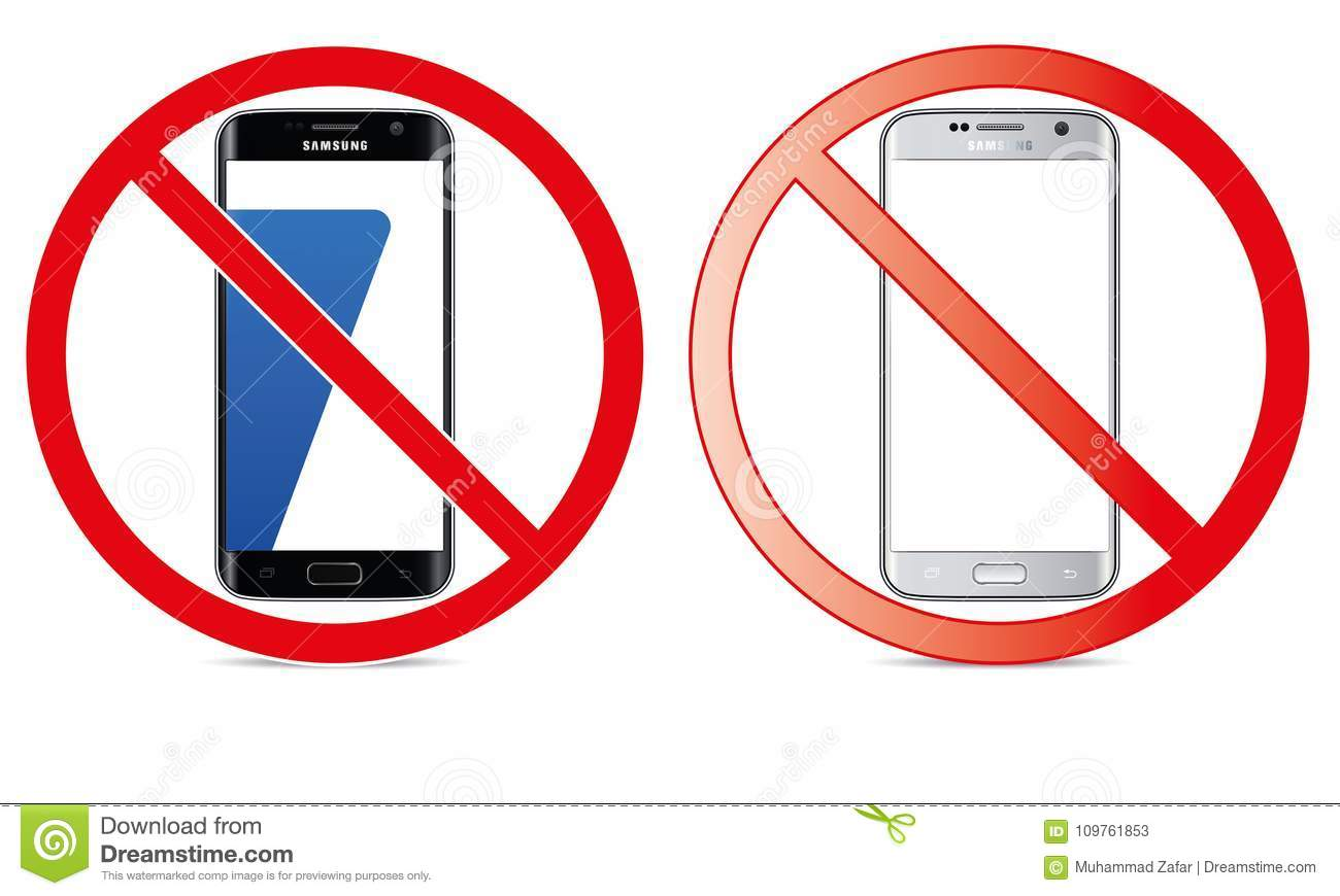 illustration of no mobile use icon logo sign cellphone is not allowed and prohibited to use