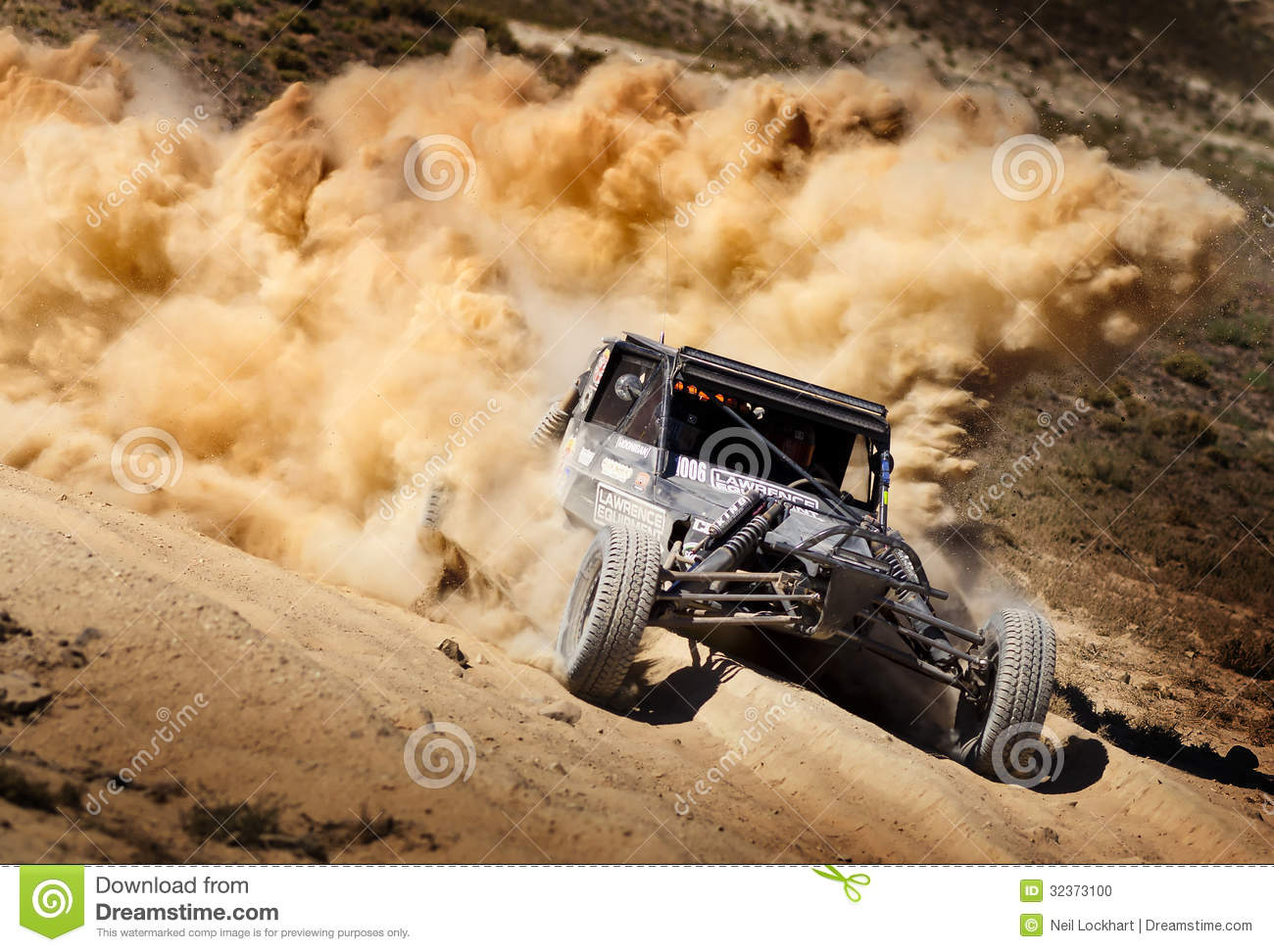 Off Road Buggy Race With Dust Plume Editorial Image