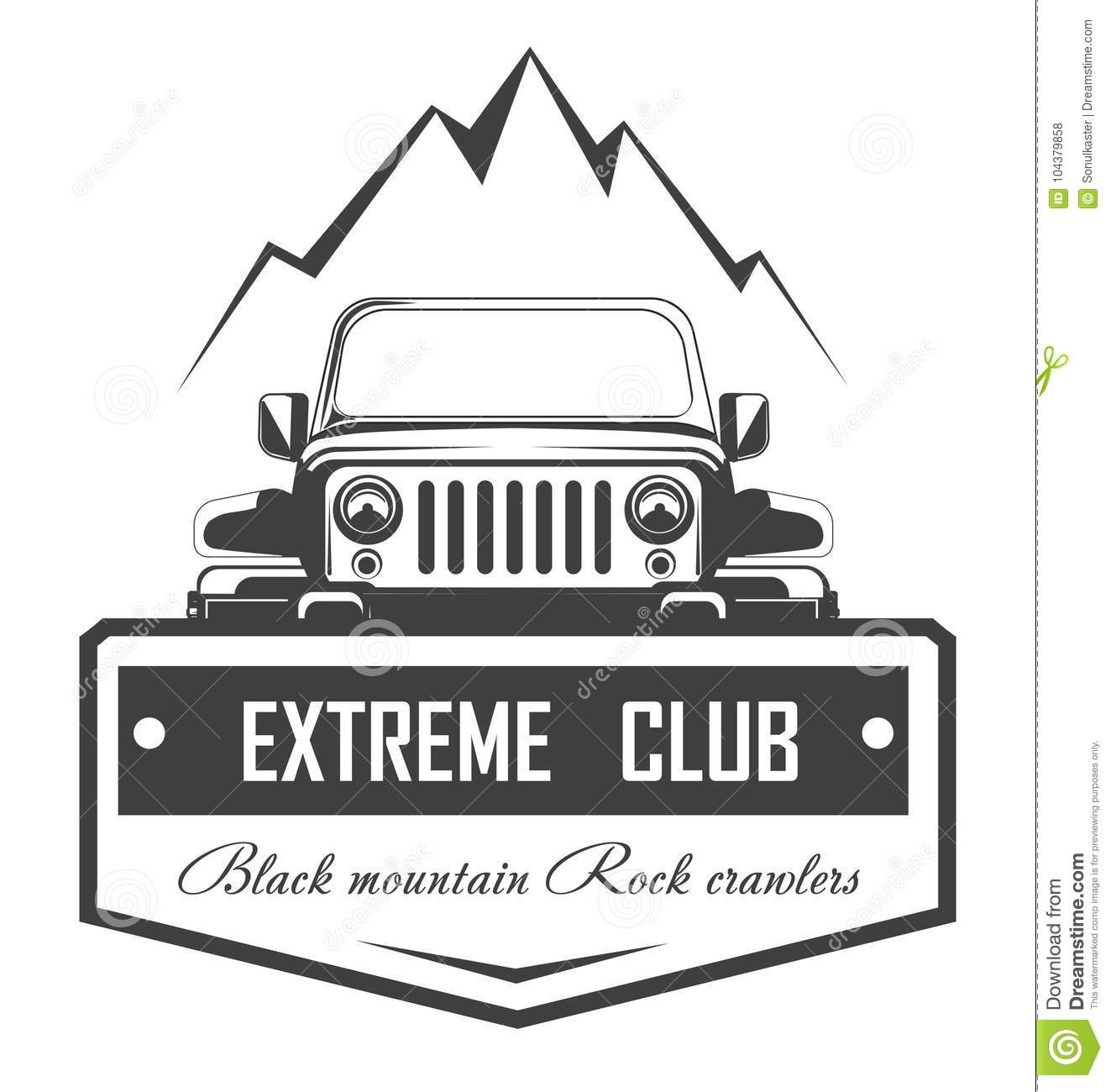 off road 4x4 extreme car club logo template vector symbol stock