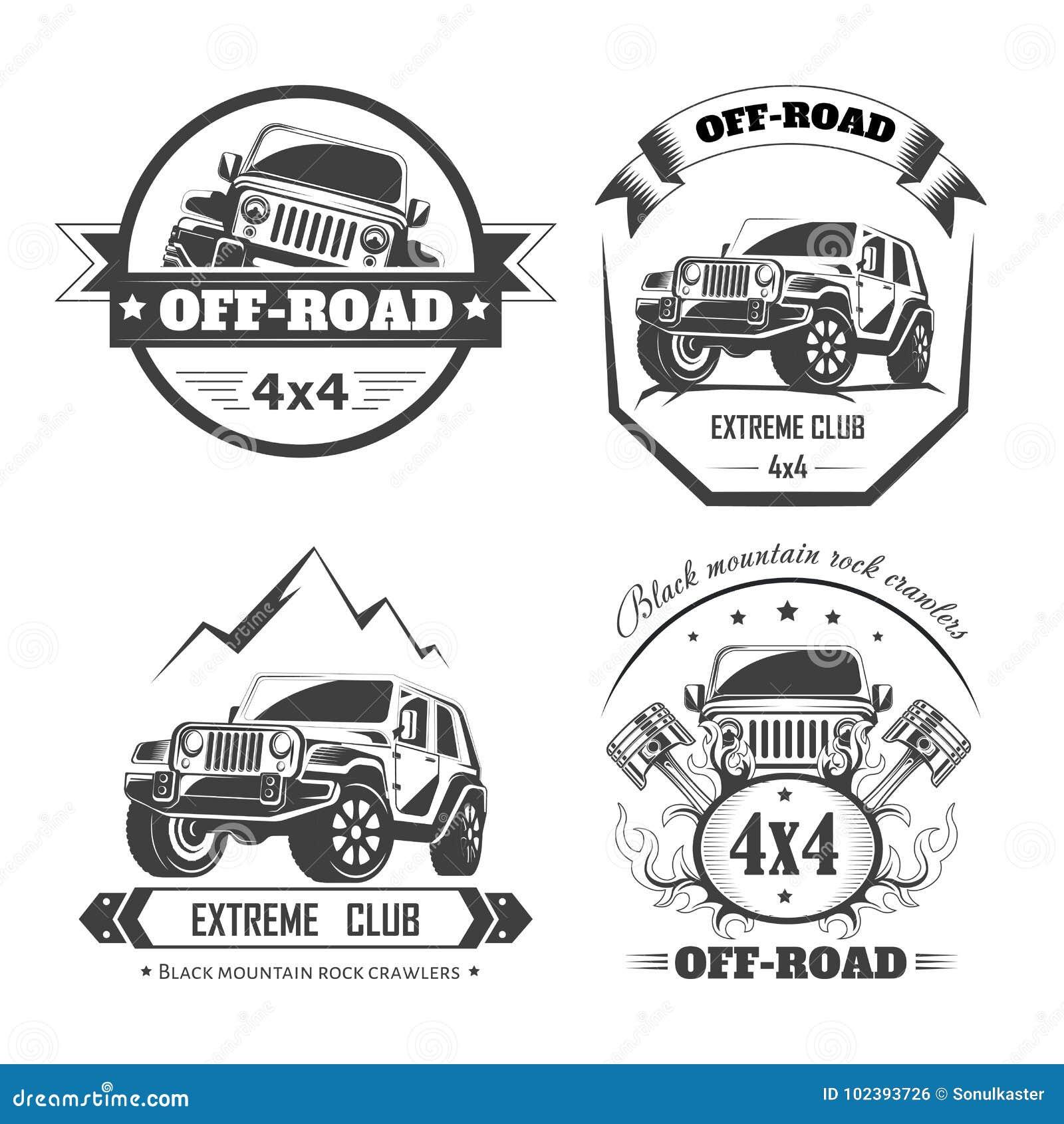 Off-road 4x4 Extreme Car Club Logo Templates. Vector Symbols Stock ...