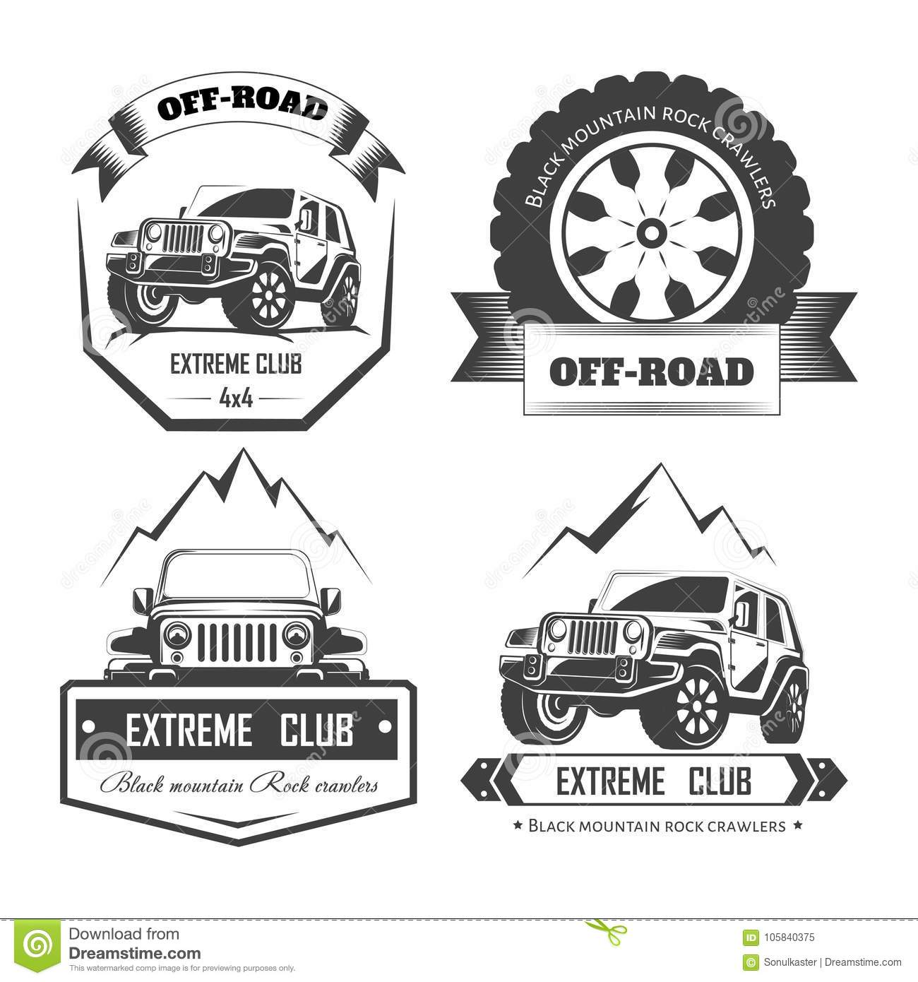 Off Road 4x4 Extreme Car Club Logo Templates Vector Stock Vector Illustration Of Mountain Black 105840375