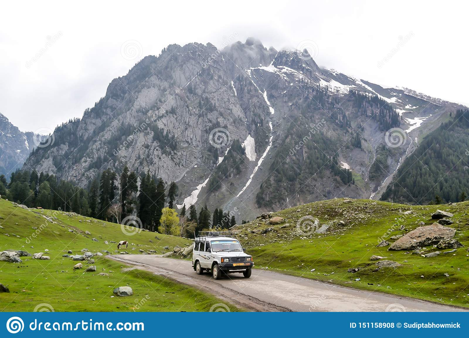 Off Road Suv Driving On The Rock Mountain Road In Kashmir