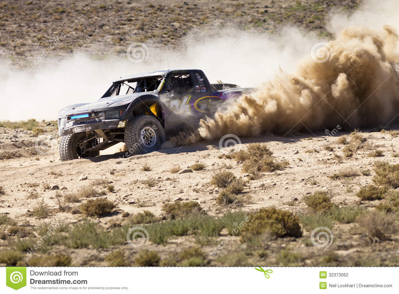 off road truck race with dust plume editorial photography image 32373062. Black Bedroom Furniture Sets. Home Design Ideas
