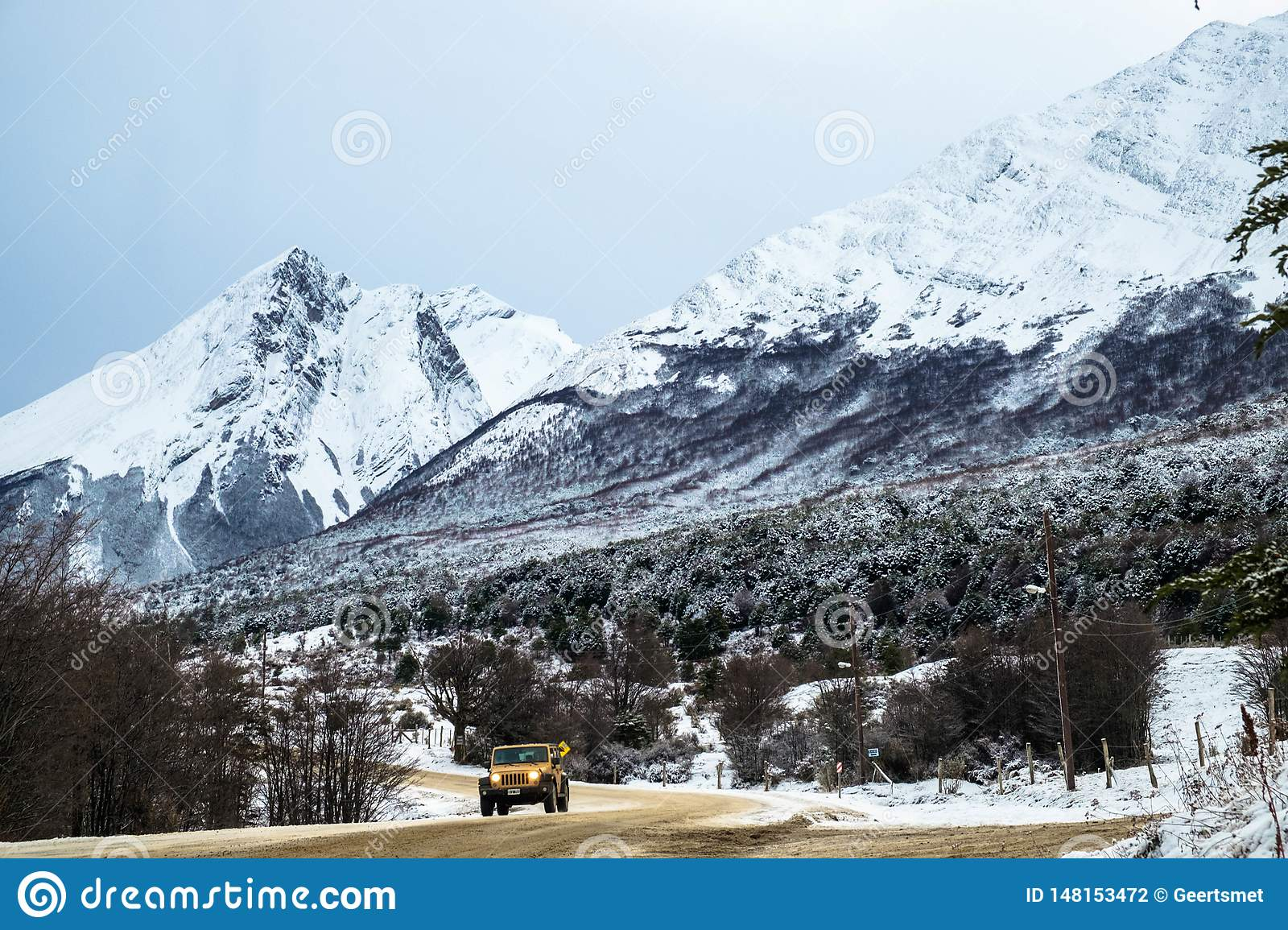 Off-road vehicle in a winter landscape near Ushuaia