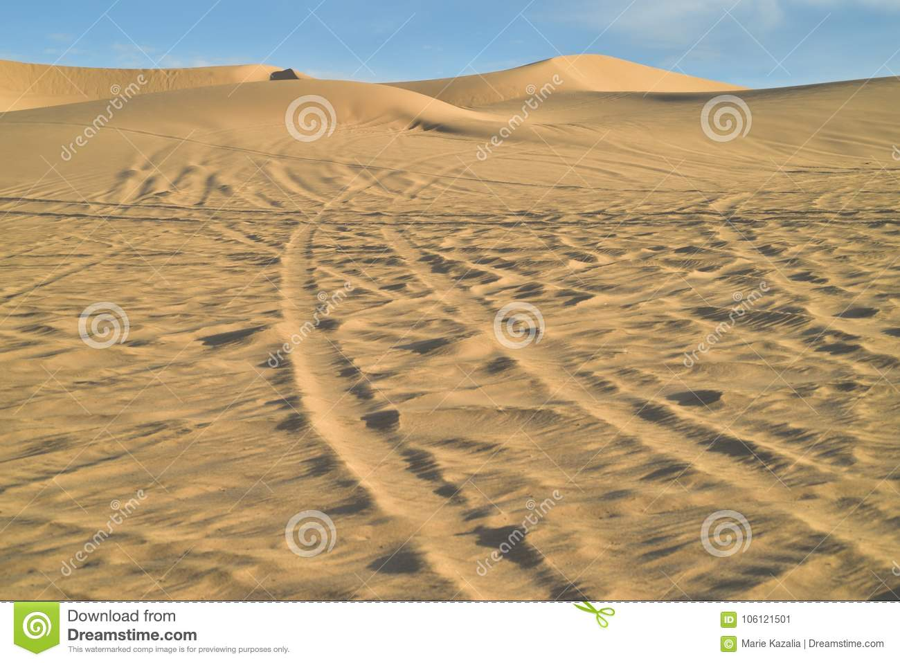 Off Road Vehicle Tracks in Sand at Imperial Sand Dunes, California ...
