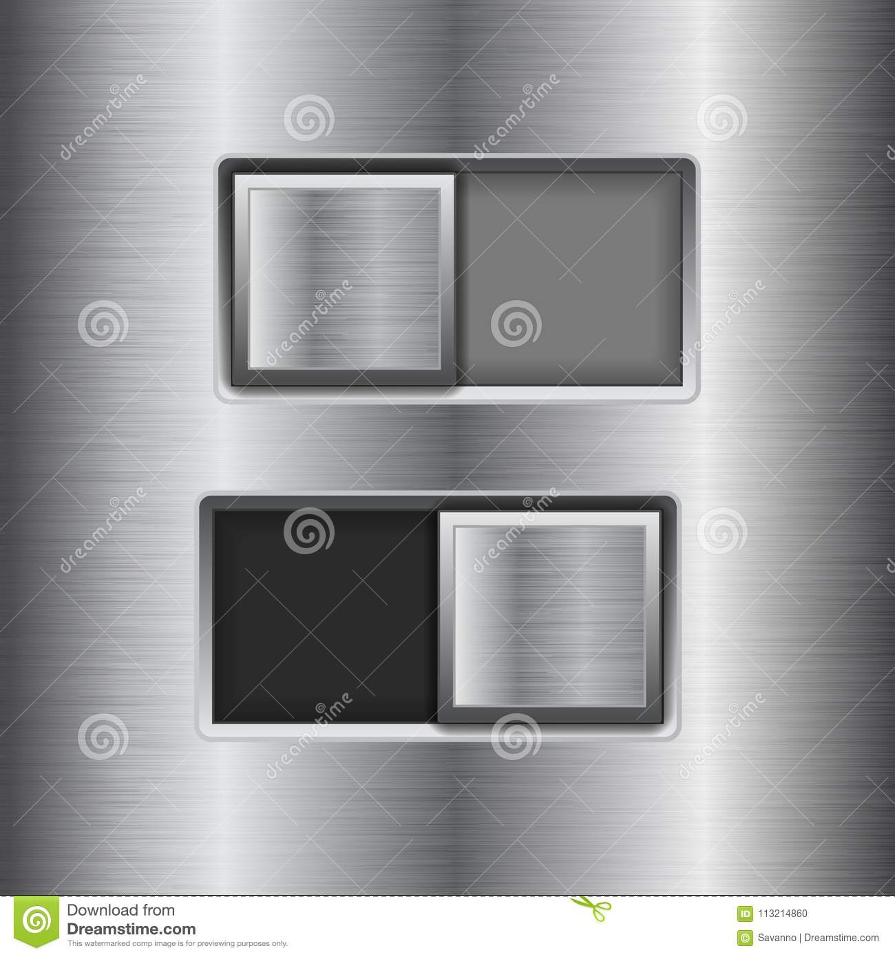On and Off square slider buttons. Metal switch interface buttons on stainless steel background