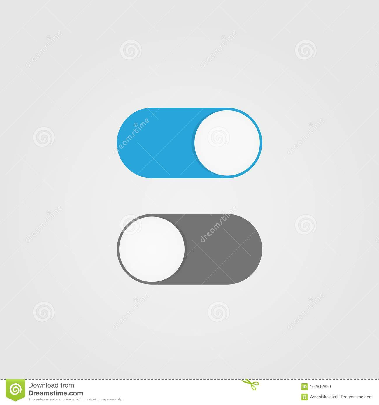 On and Off switch toggle stock vector. Illustration of round - 102612899