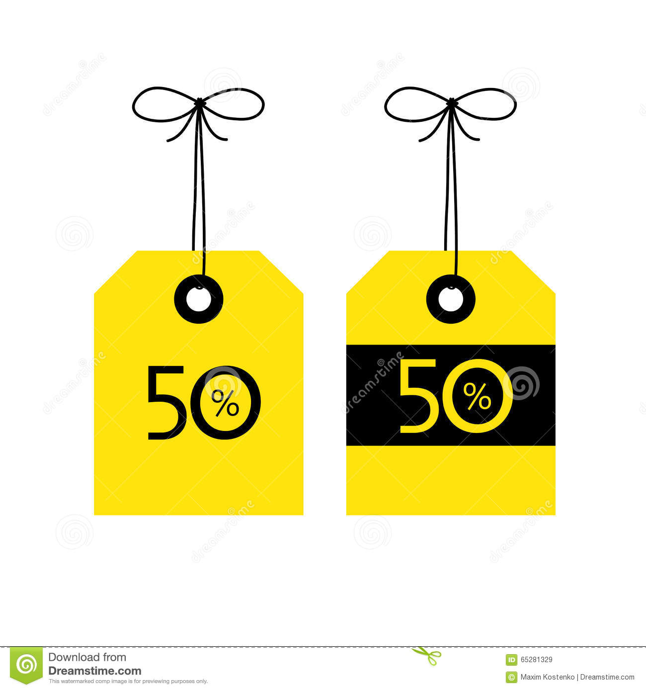 50 Off Tag Icon Vector Illustration Black And Yellow